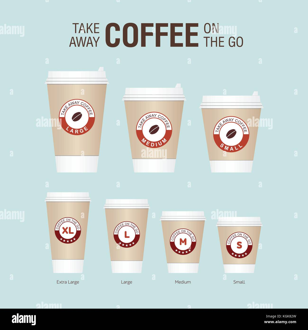 Coffee On The Go Cups Different Sizes Of Take Away Paper