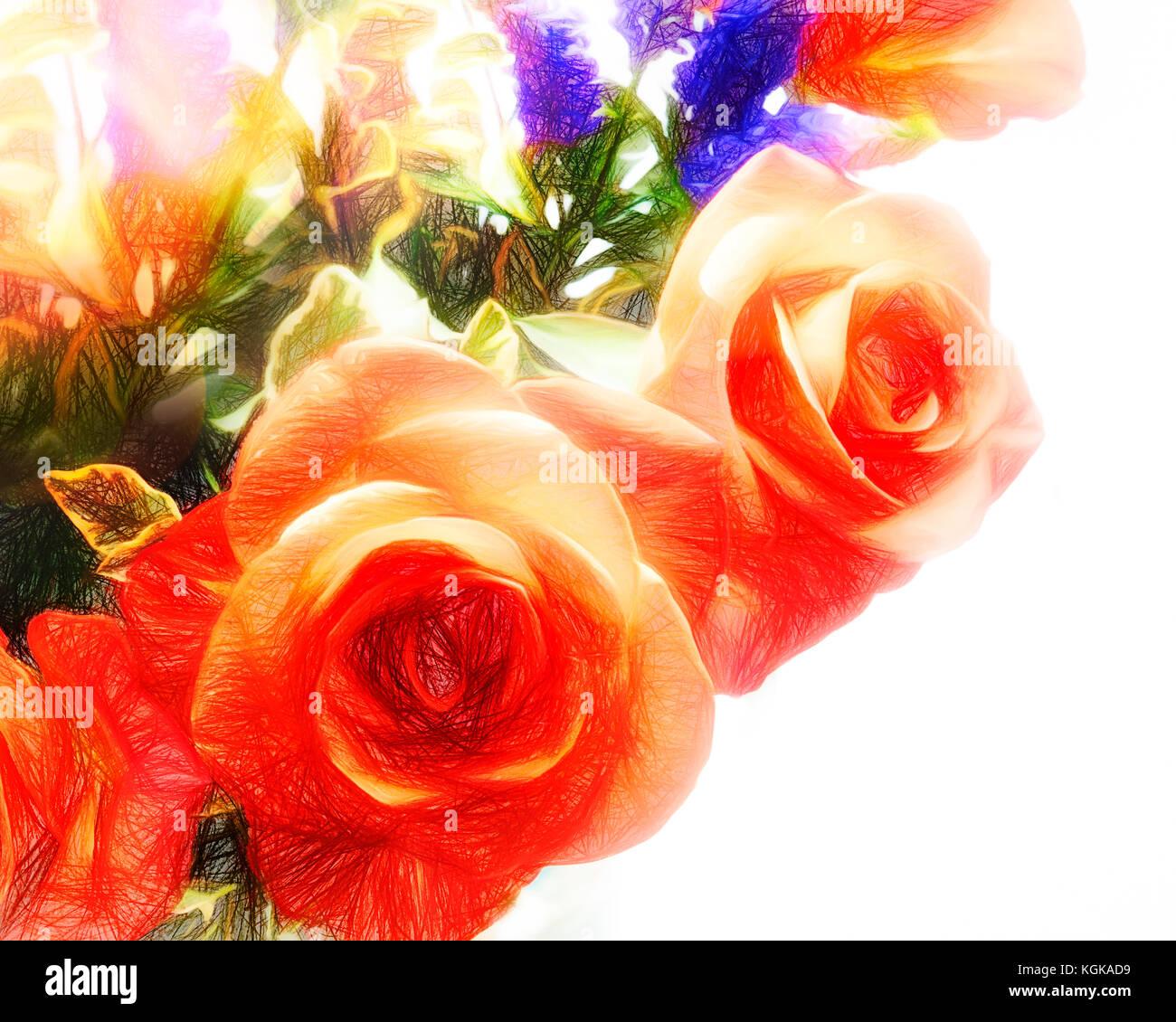 DIGITAL ART: Red Roses - Stock Image