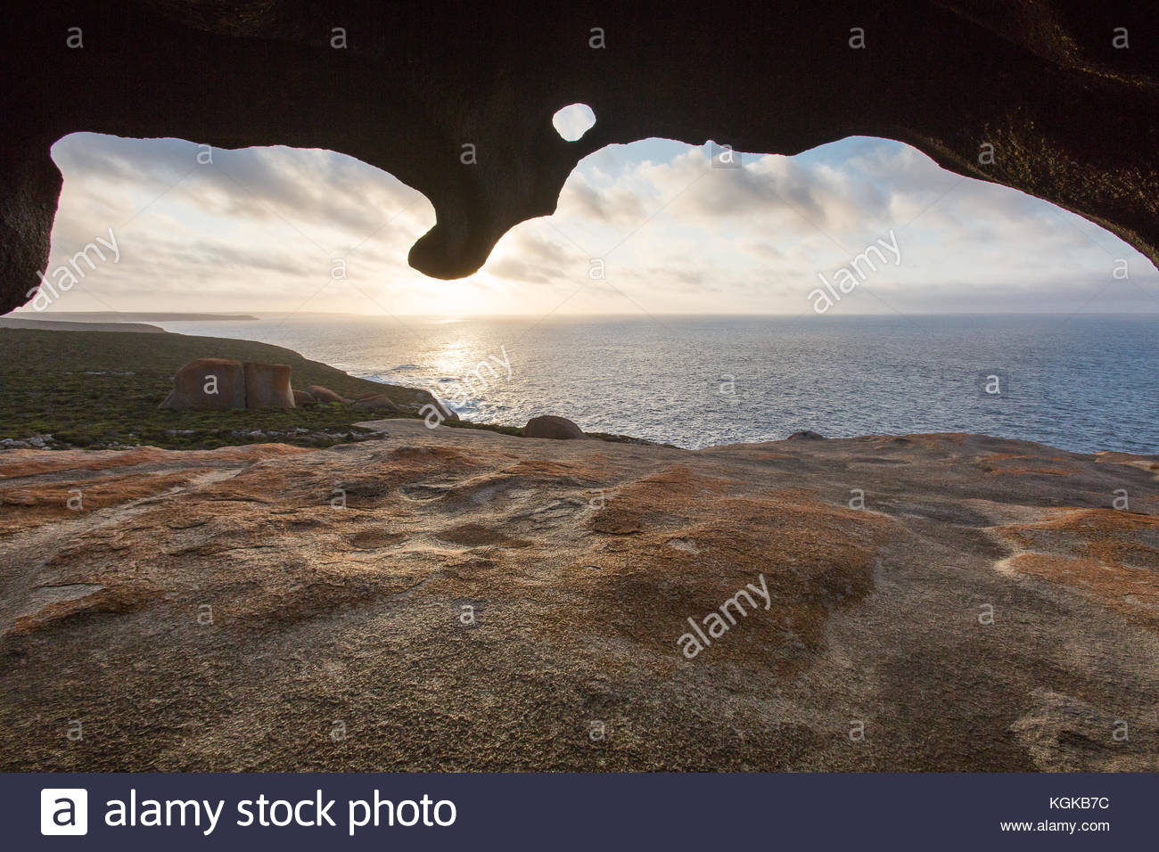View from Remarkable Rocks, naturally formed granite boulders on the coast. - Stock Image