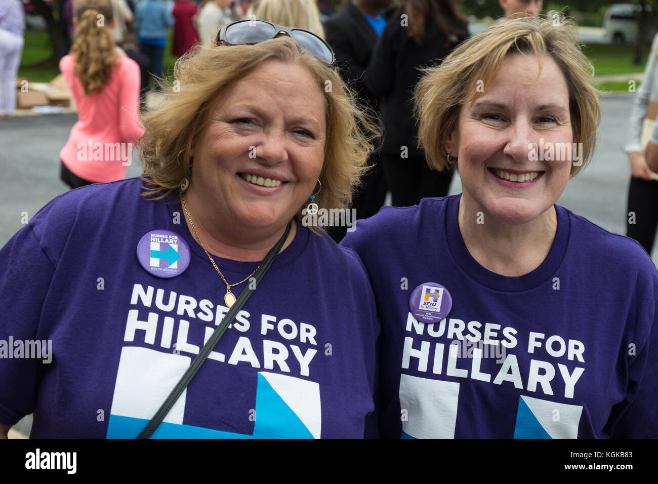 Harrisburg, PA, USA - October 4, 2016: Nurses for Hillary at the rally for Presidential candidate Hillary Clinton. - Stock Image