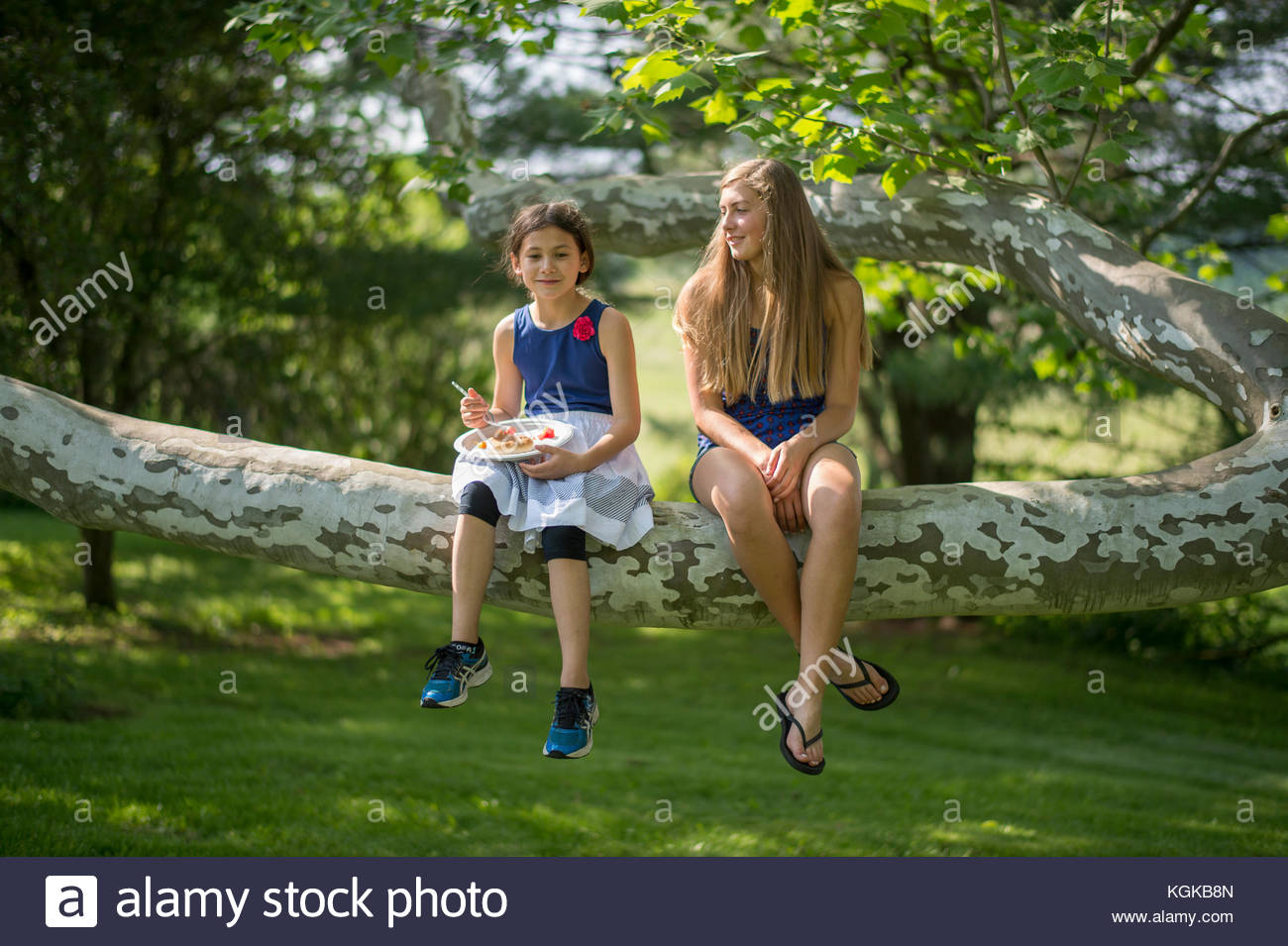 Two girls sit together on a large tree branch. - Stock Image