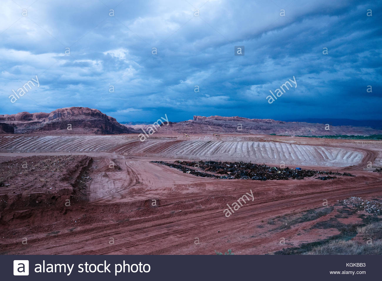 A view from the road overlooking a landfill outside of Moab. - Stock Image