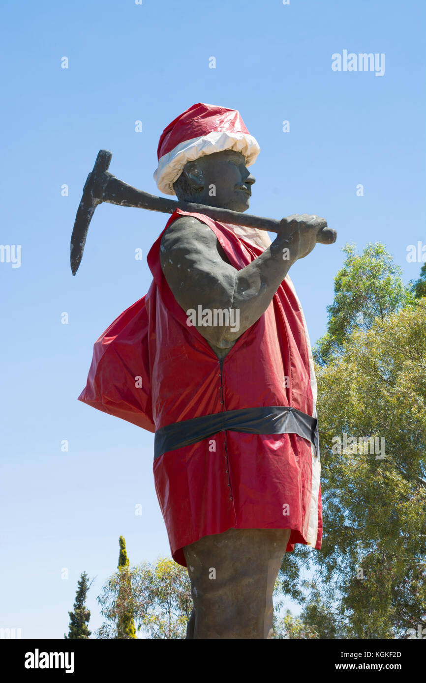 Kapunda, South Australia, Australia - December 3, 2016: Historic Map the Miner dressed up as Father Christmas ready - Stock Image