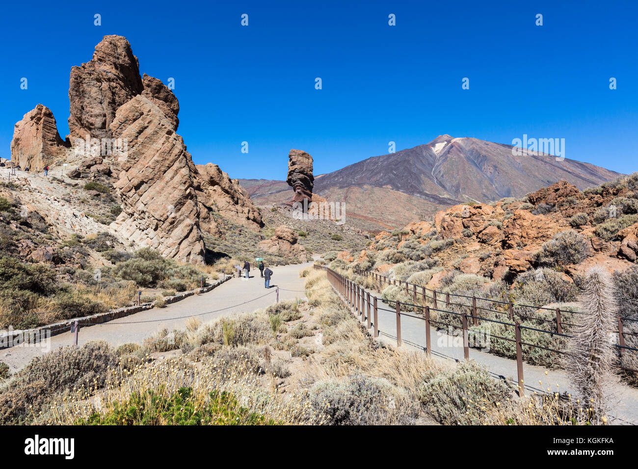 Routes in the Teide National Park, behind volcano Teide, Tenerife, Canary Islands, Spain - Stock Image