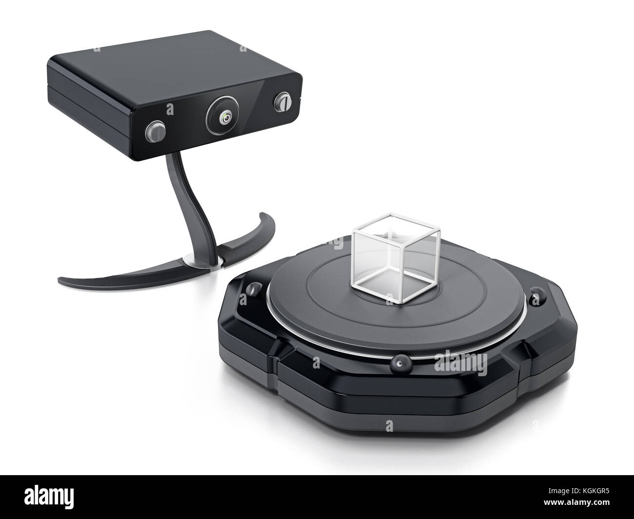 Fictitious 3D scanner isolated on white background. 3D illustration. Stock Photo
