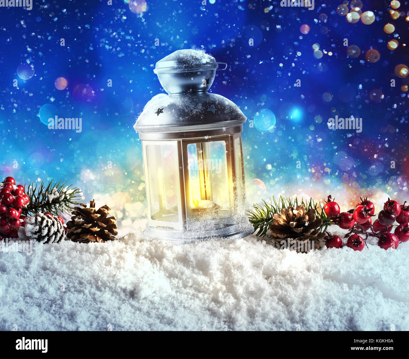 Shiny lantern on a Christmas background during the night - Stock Image