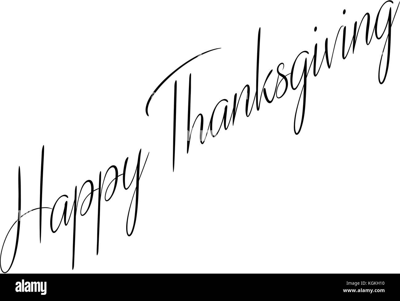 Happy Thanksgiving text sign illustration on white illustration. Stock Photo