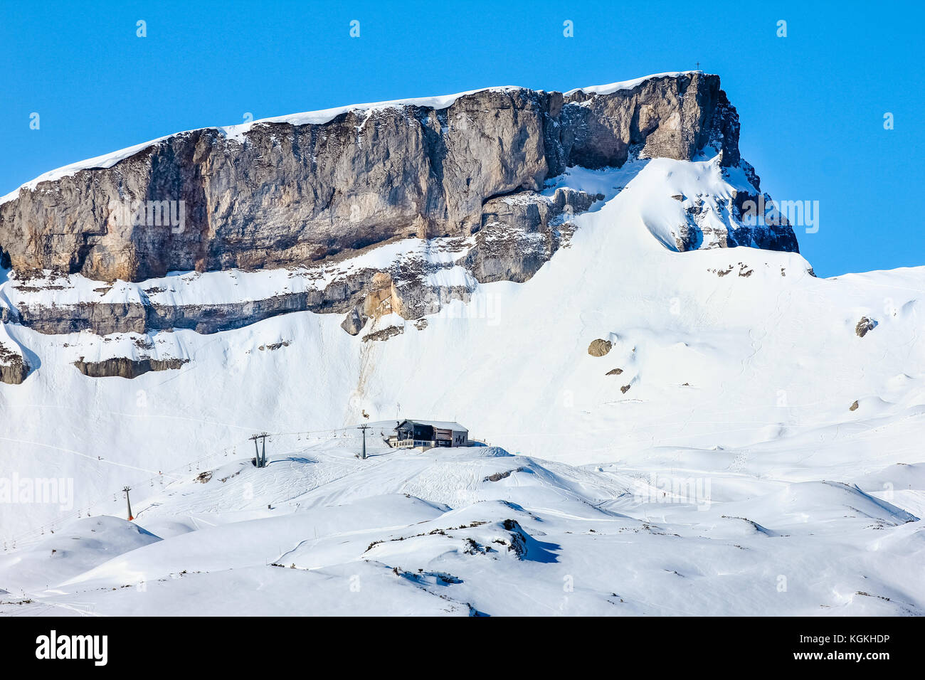 Snow mountains winter landscape at Ifen ski resort. Bavaria, Germany. - Stock Image