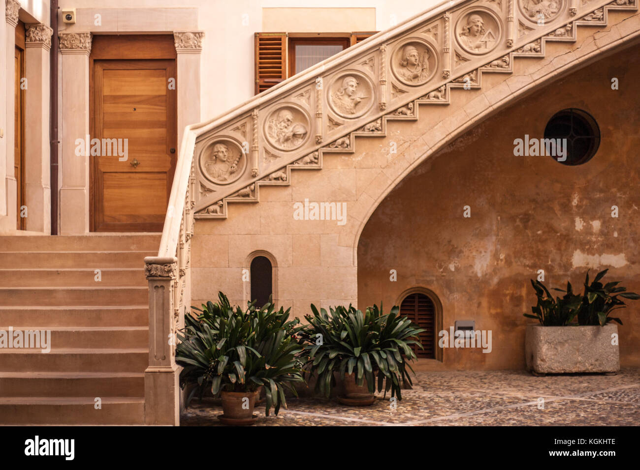 Typical Moorish courtyard and staircase in Palma de Mallorca - Stock Image