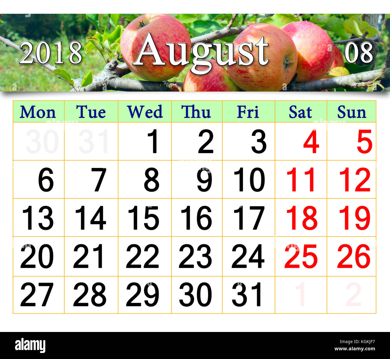 beautiful calendar for August 2018 year with ripe apples on
