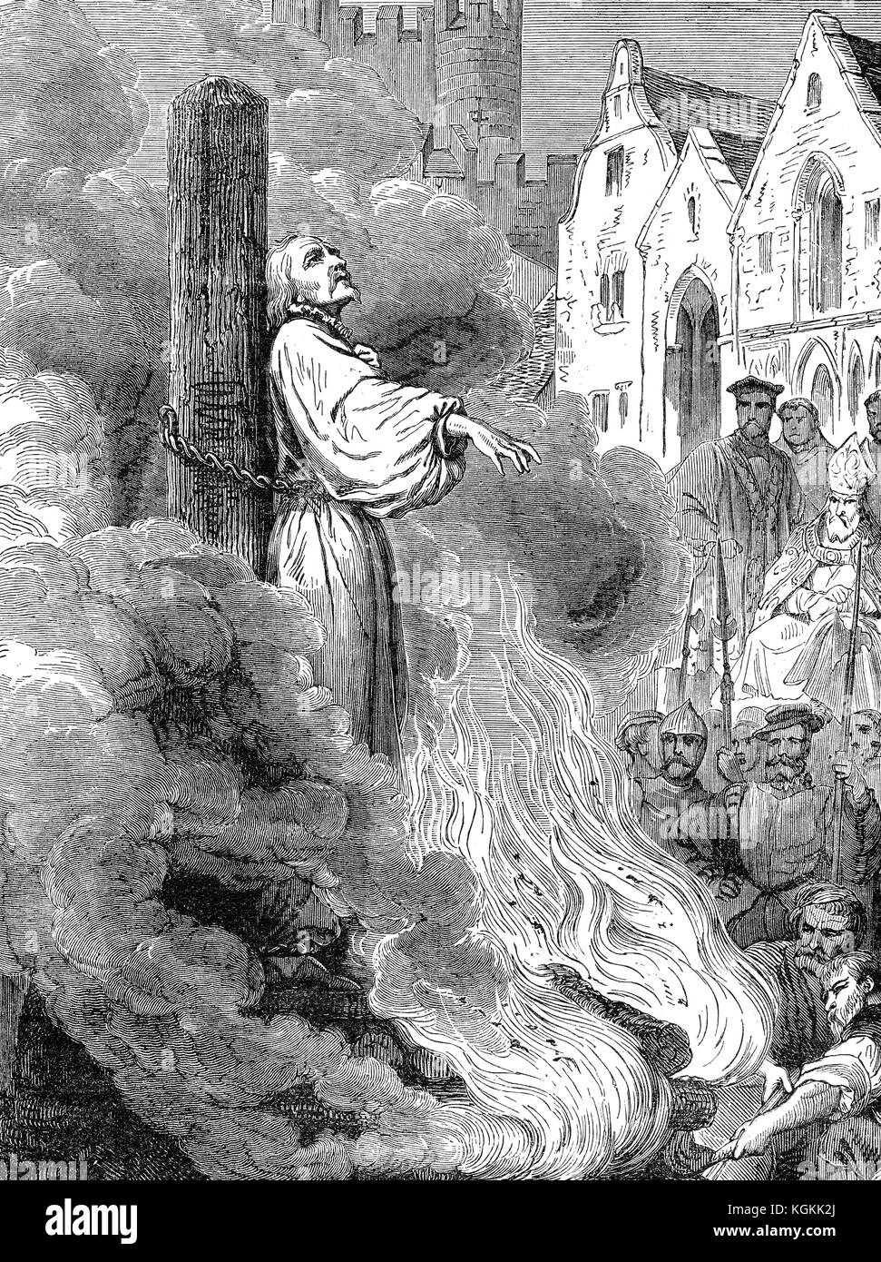 Michael Servetus or Miguel Servet, 1509 or 1511 –1553, a Spanish theologian, polymath, burning at the stake for - Stock Image