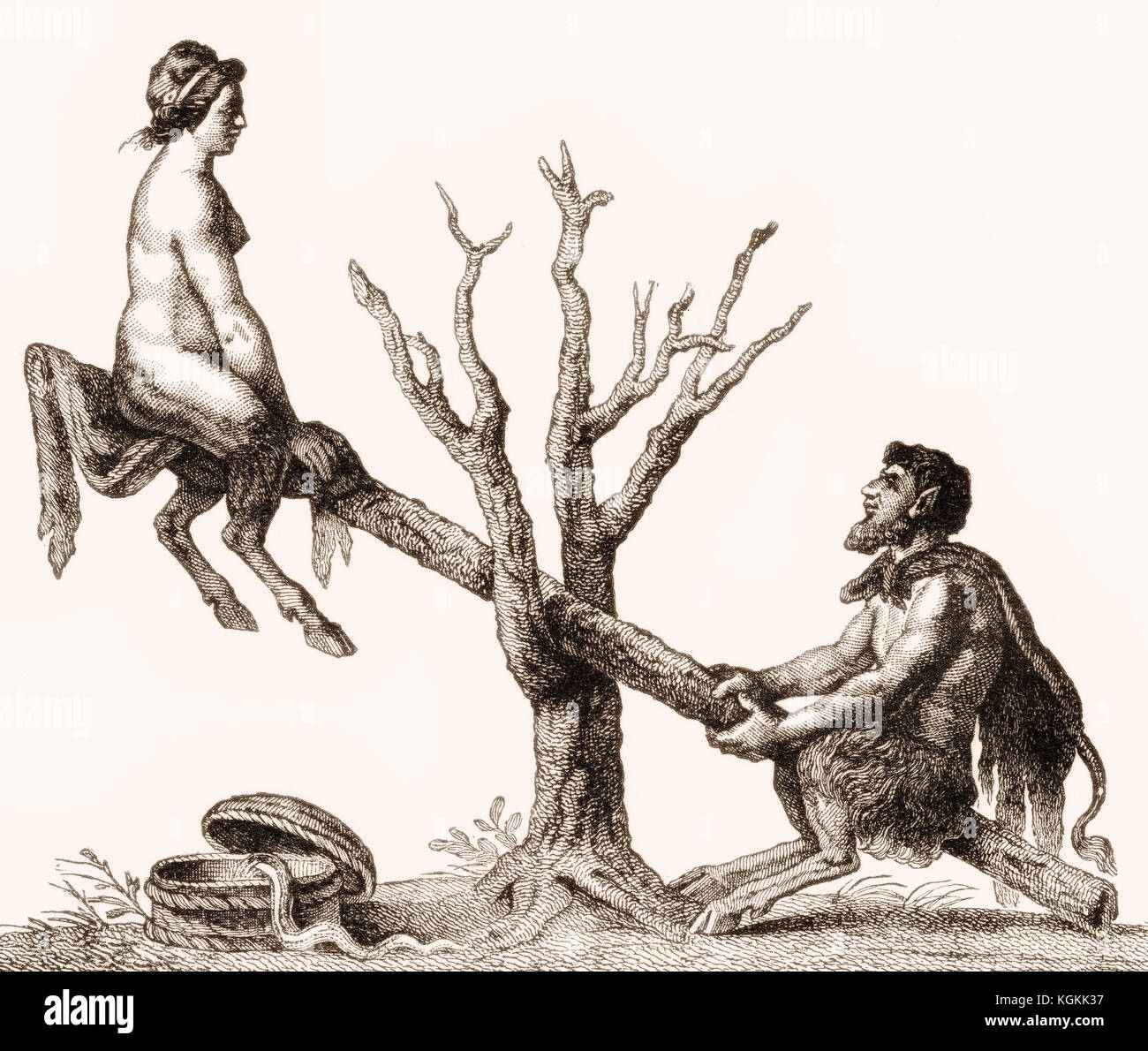 Caricature of Adam and Eve on a seesaw as devils - Stock Image