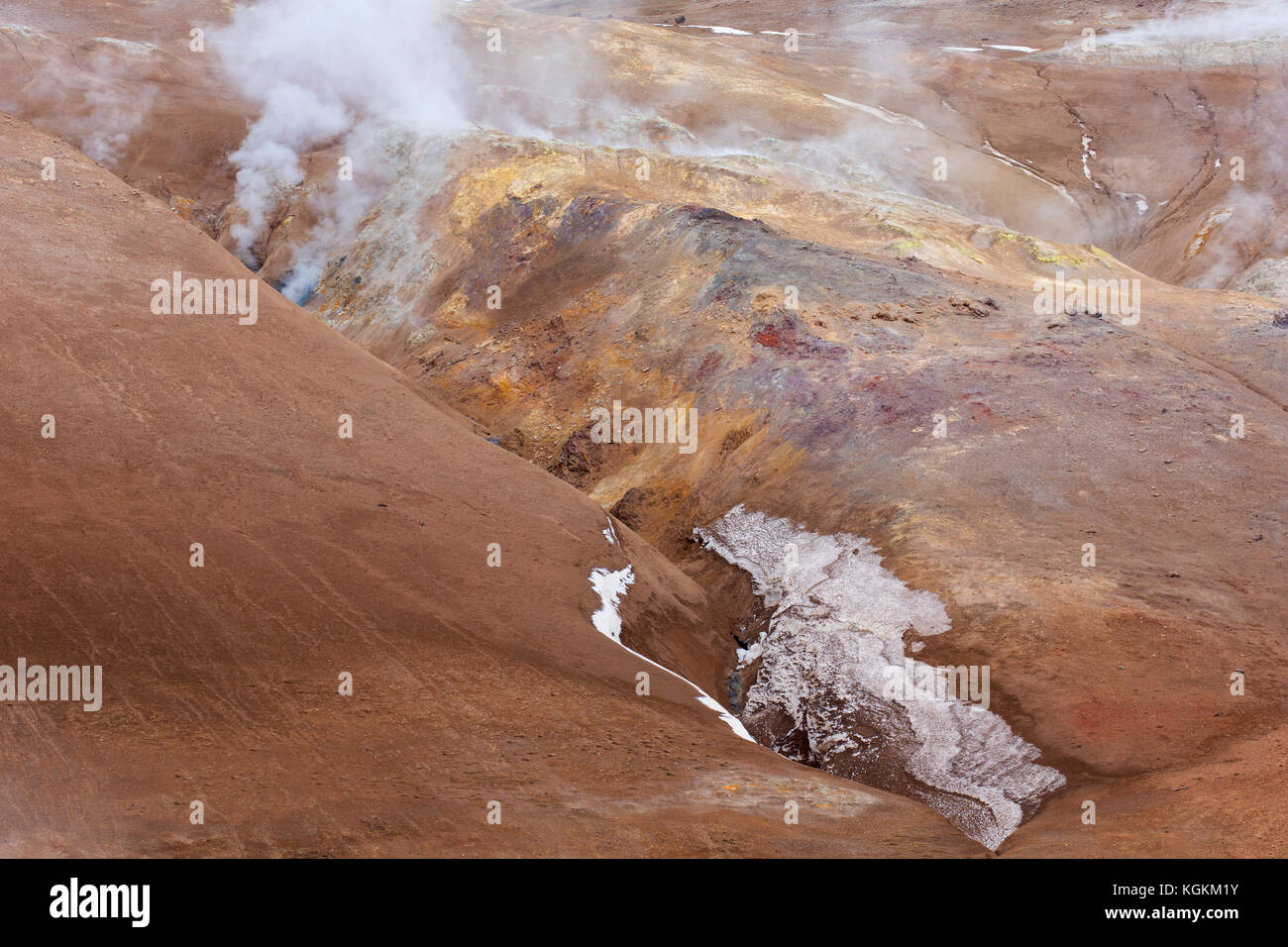 Hverir, geothermal area near Námafjall, Norðurland eystra / Nordurland eystra, Iceland - Stock Image