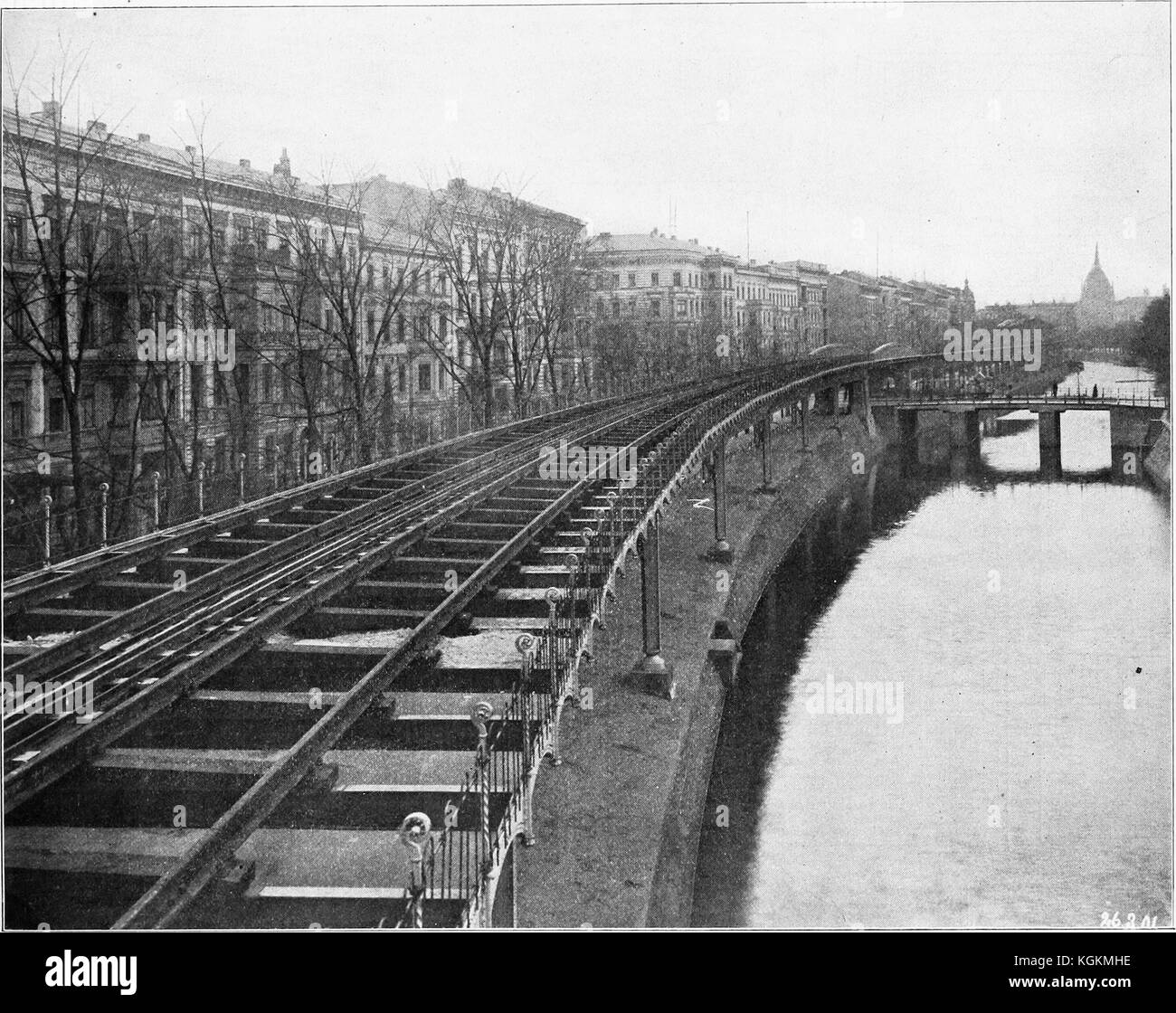Engraved image from a photograph of the Berlin Elevated Railway, an electric train system in Berlin, Germany, 1884. - Stock Image