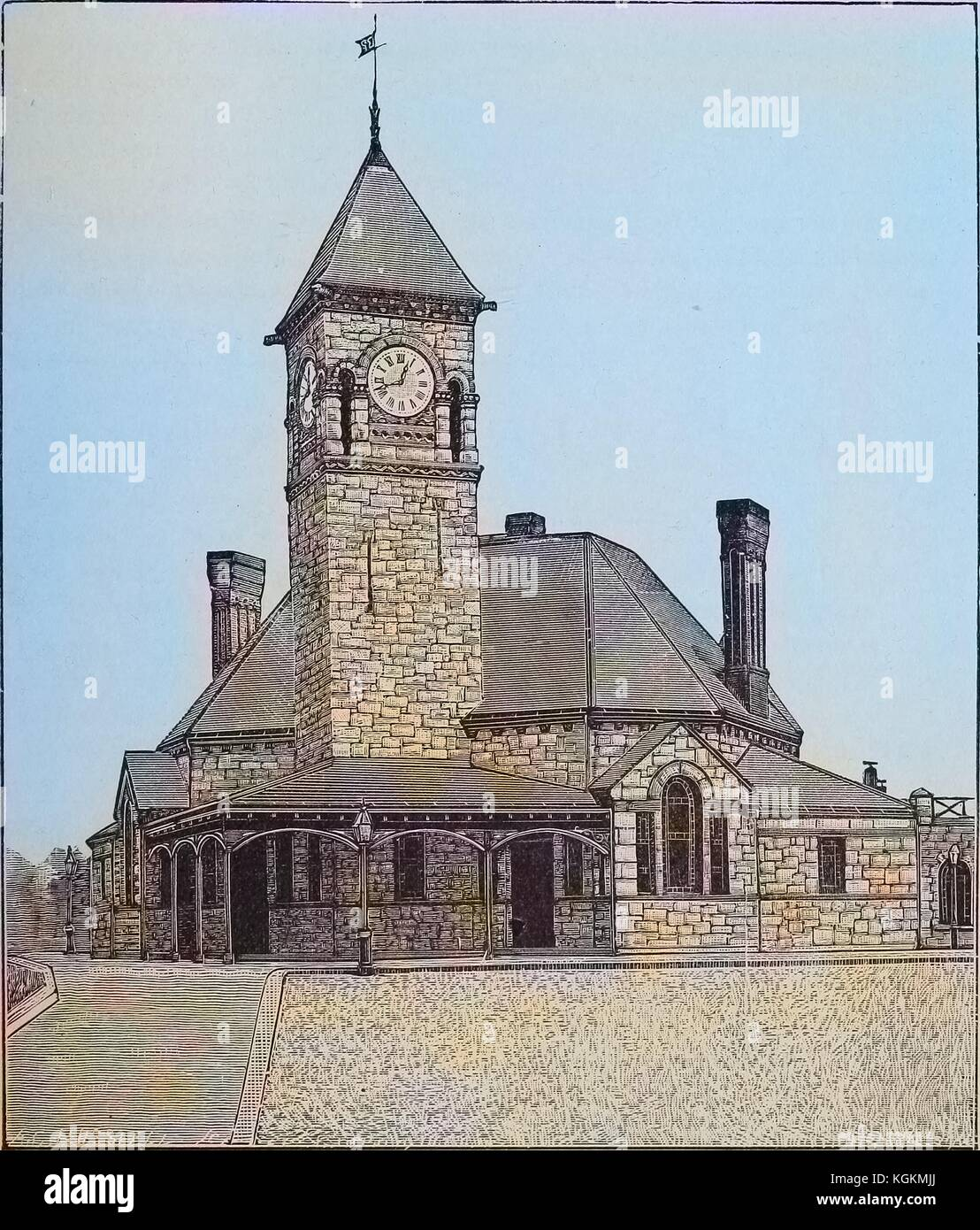 Engraved image of Dedham Station, a railroad station with a clock tower in Dedham, Massachusetts, 1893. Courtesy - Stock Image