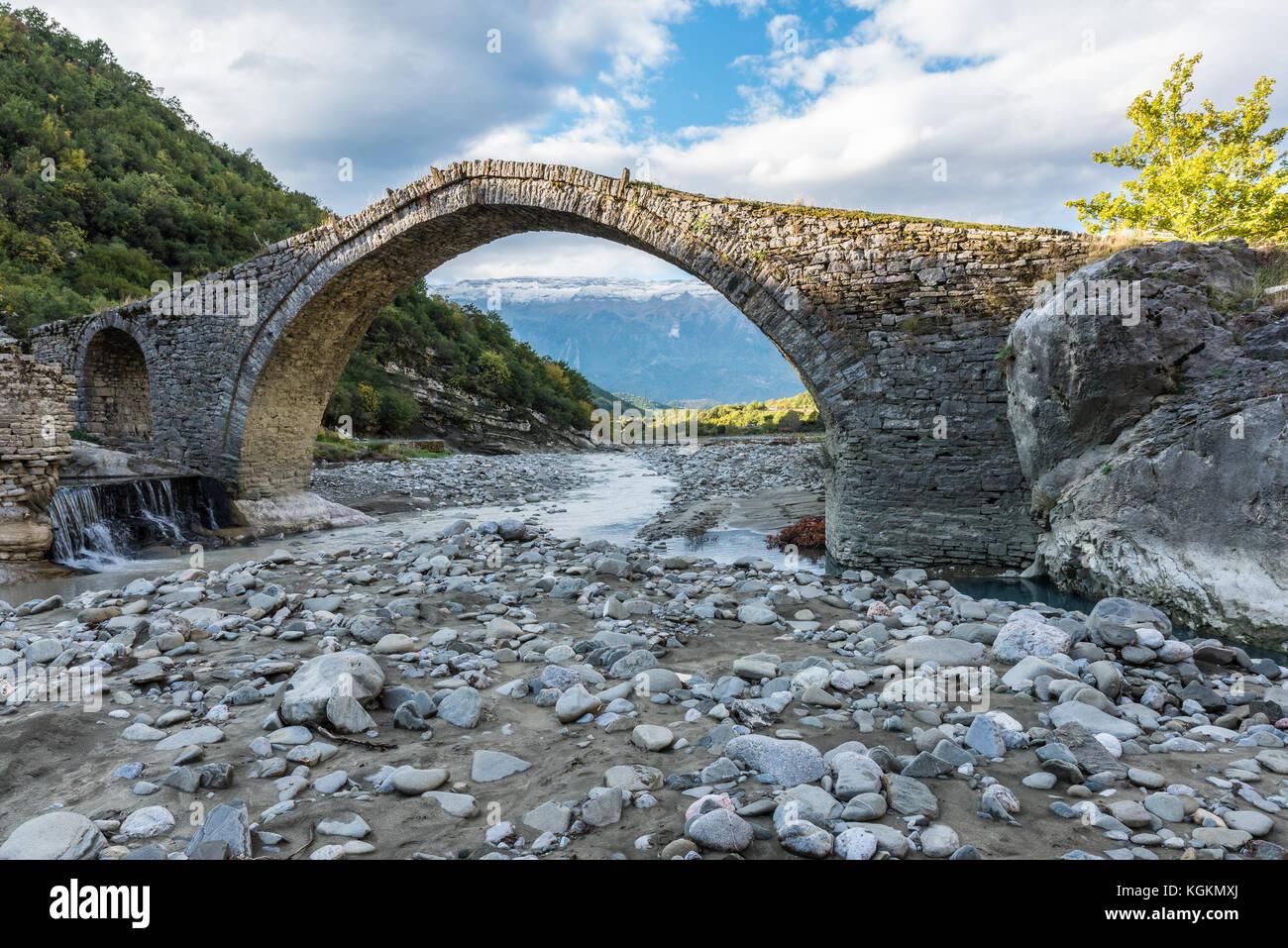 Old ottoman bridge at Benjes outside Permet in Albania - Stock Image