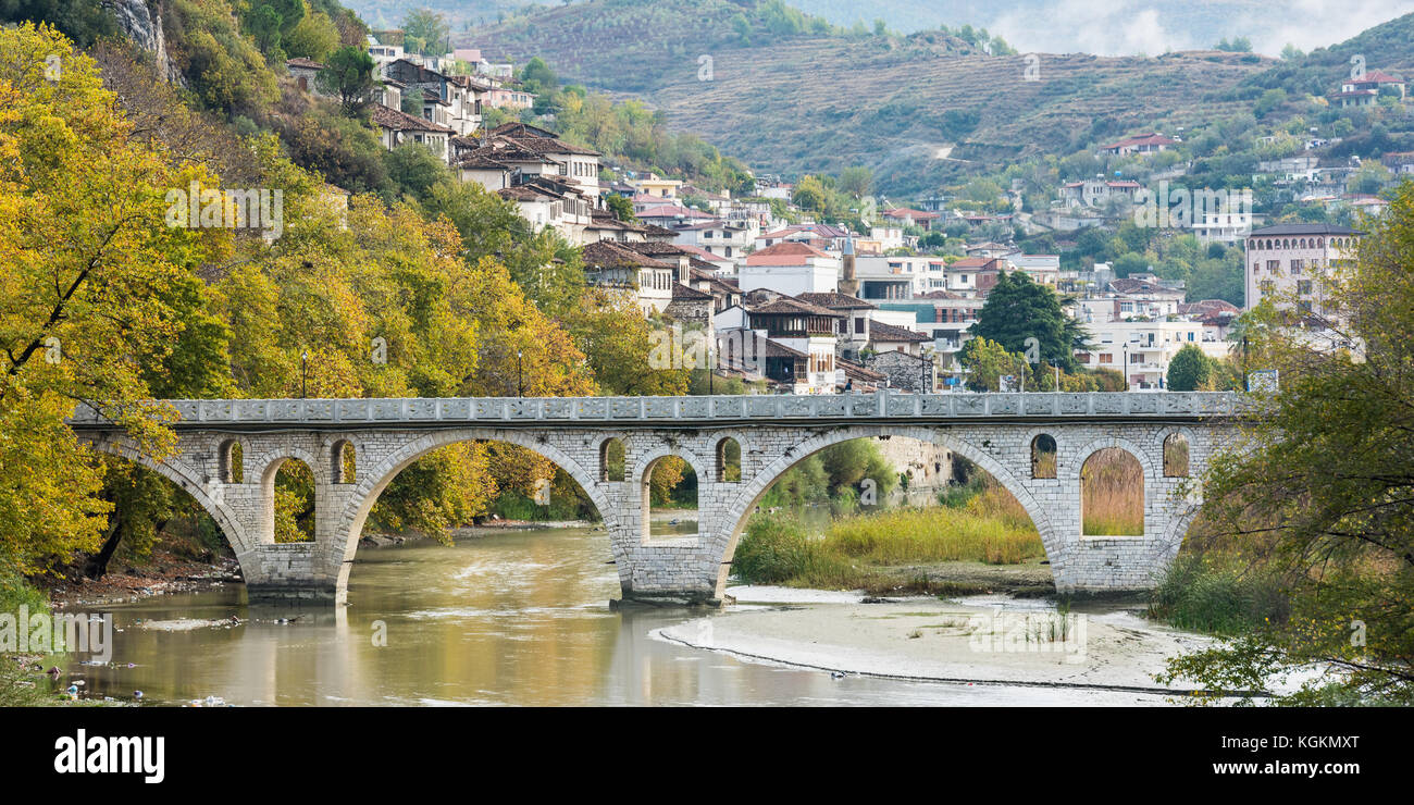 The old ottoman bridge in the city of Berat in Albania - Stock Image