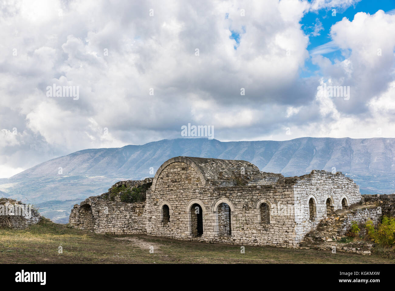 Ruin at the castle in the city of Berat in Albania - Stock Image