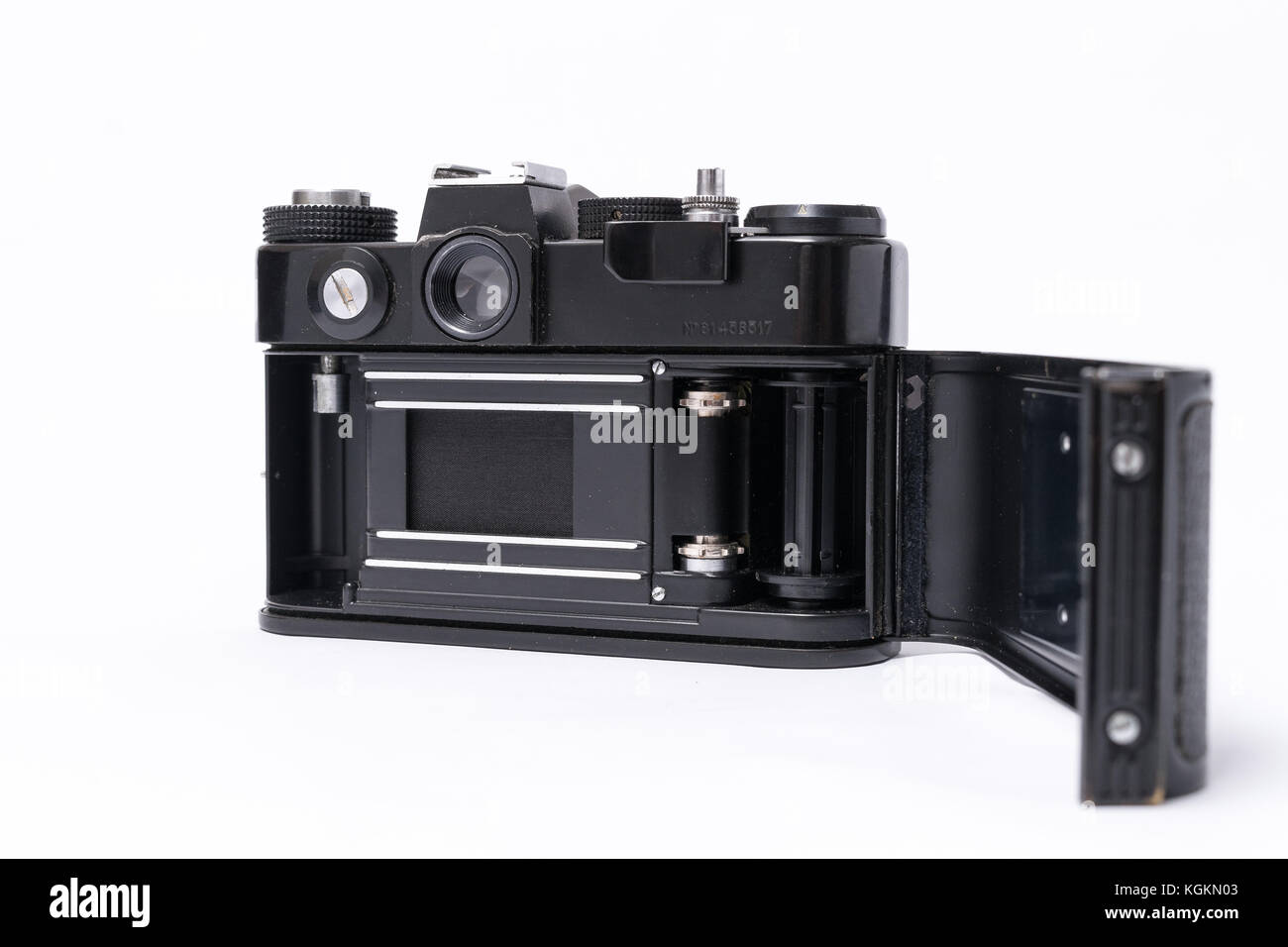 Old Soviet Zenit TTL 35 mm film camera isolated on white - Stock Image