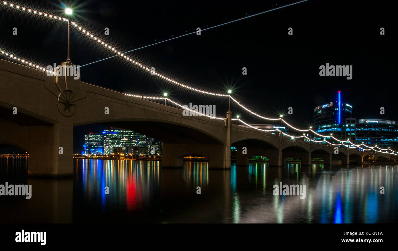 Long Exposure Photo at Tempe Town Lake, which is located in the Phoenix Metro Area near Arizona State University. - Stock Image