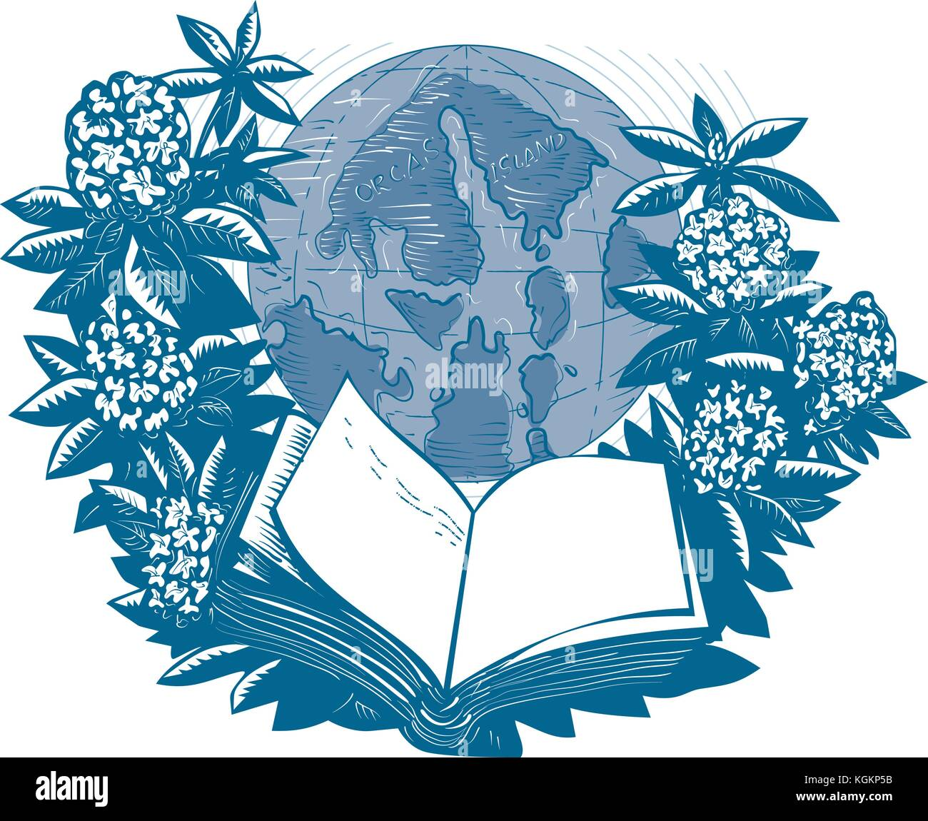 Drawing sketch style illustration showing map of Orcas Island on globe framed by Rhododendron flower and leaves - Stock Vector
