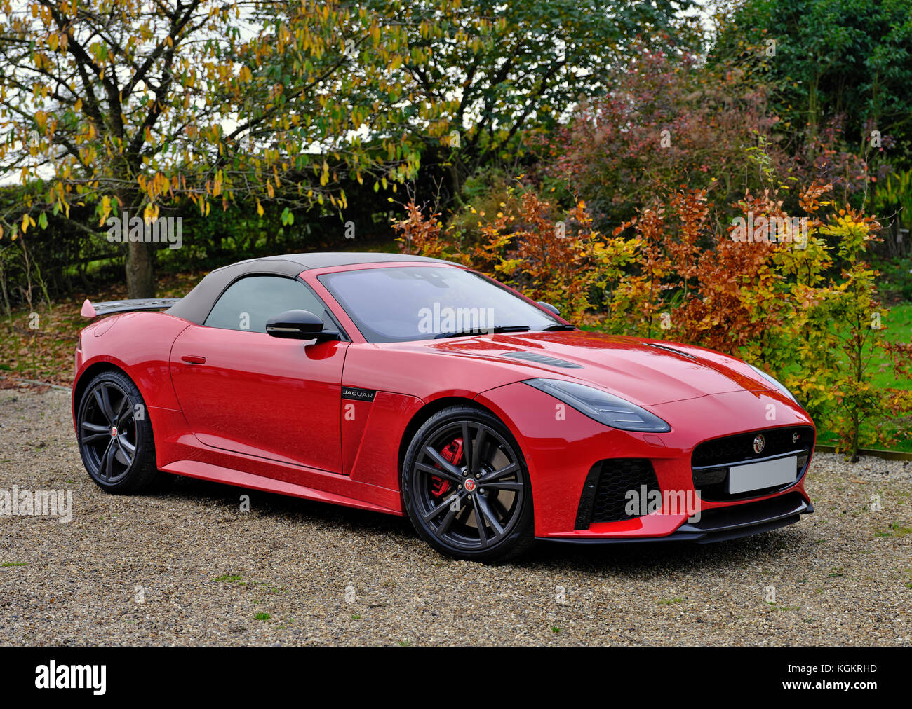 A Red Jaguar F Type Svr Sports Car In A Country Driveway Stock Photo Alamy