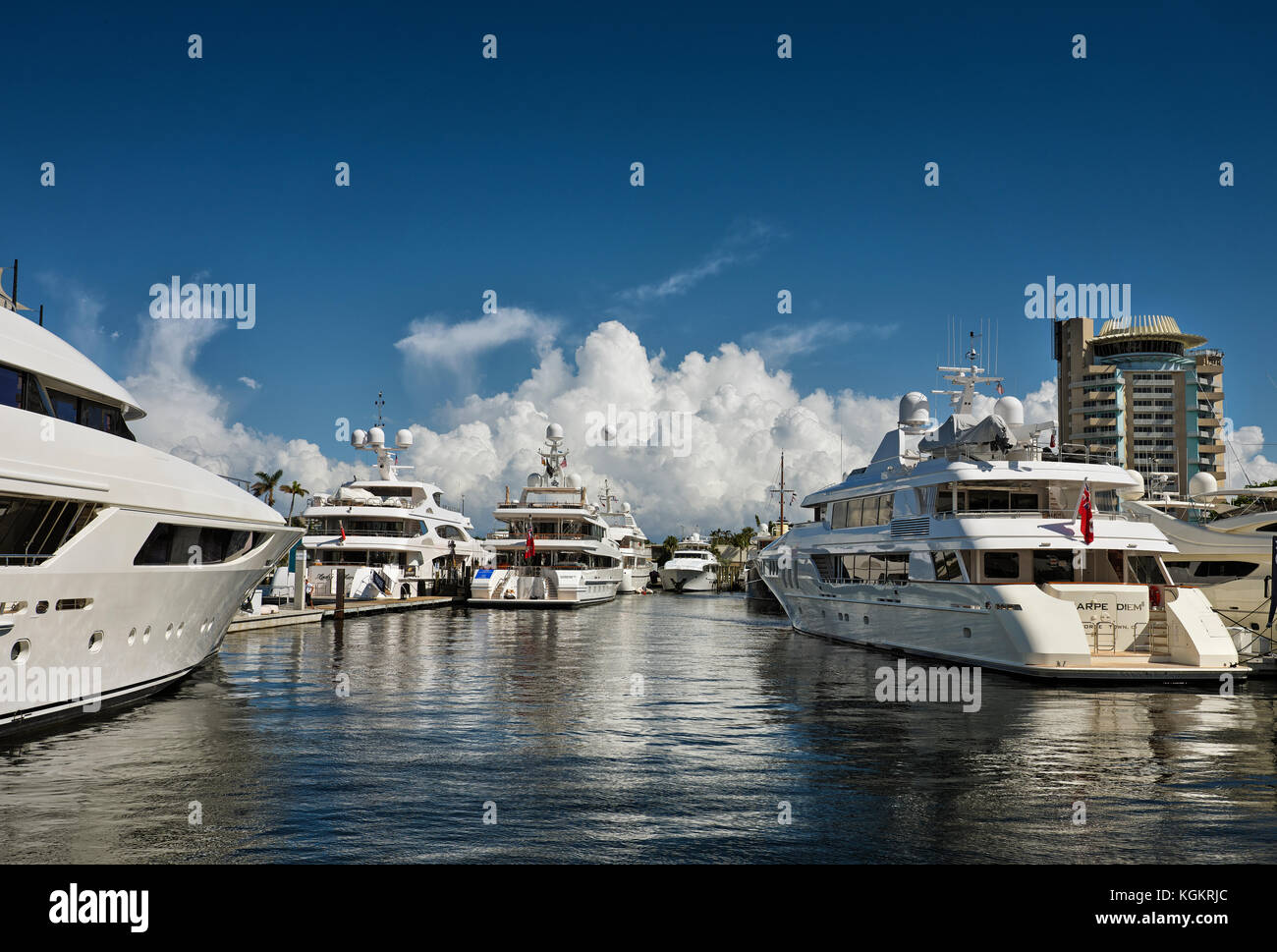 Yachts at the Ft. Lauderdale Boat Show Stock Photo