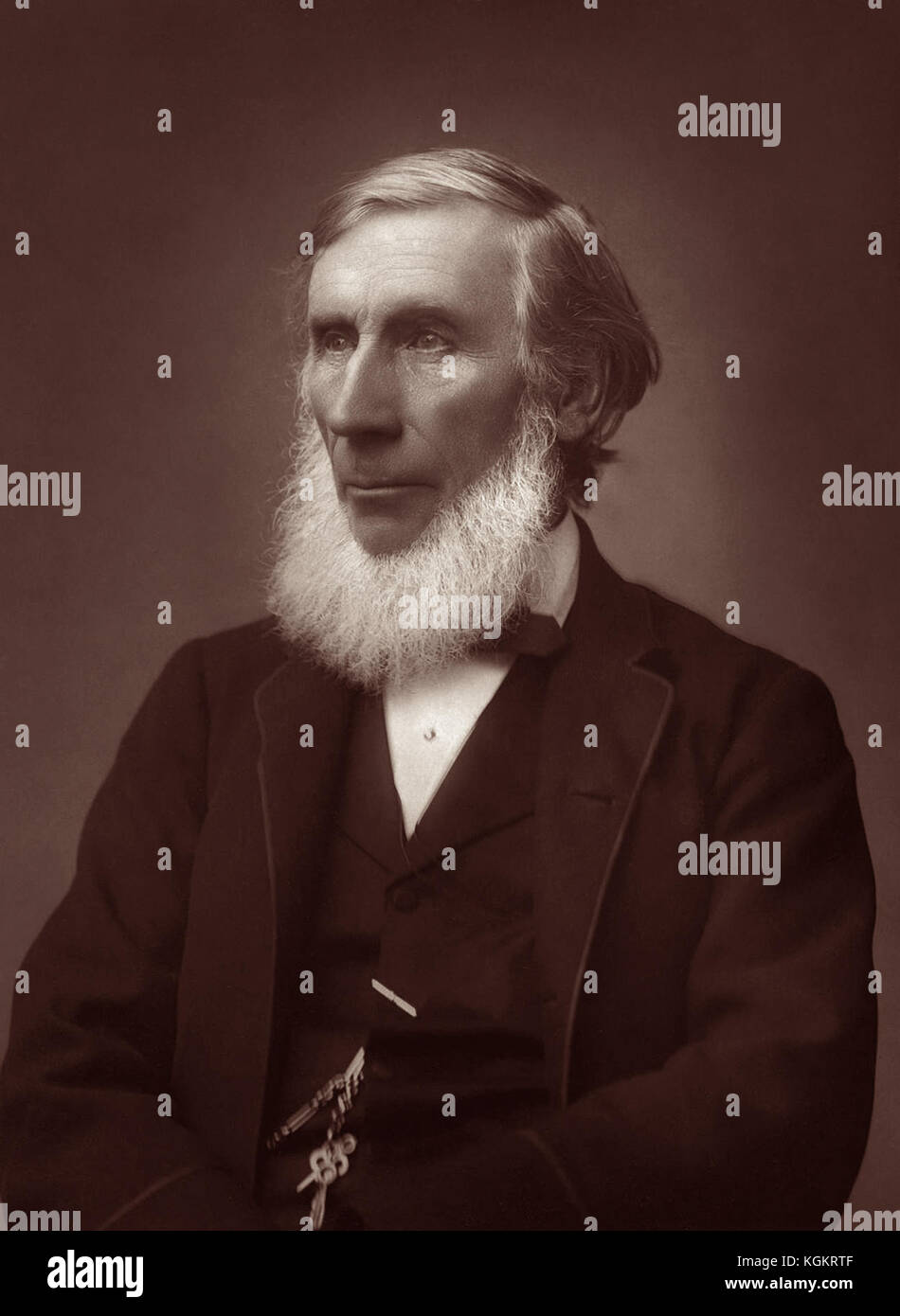 John Tyndall (1845-1896), Irish natural philosopher and scientist, in a c1885 portrait photo by Herbert Rose Barraud. - Stock Image