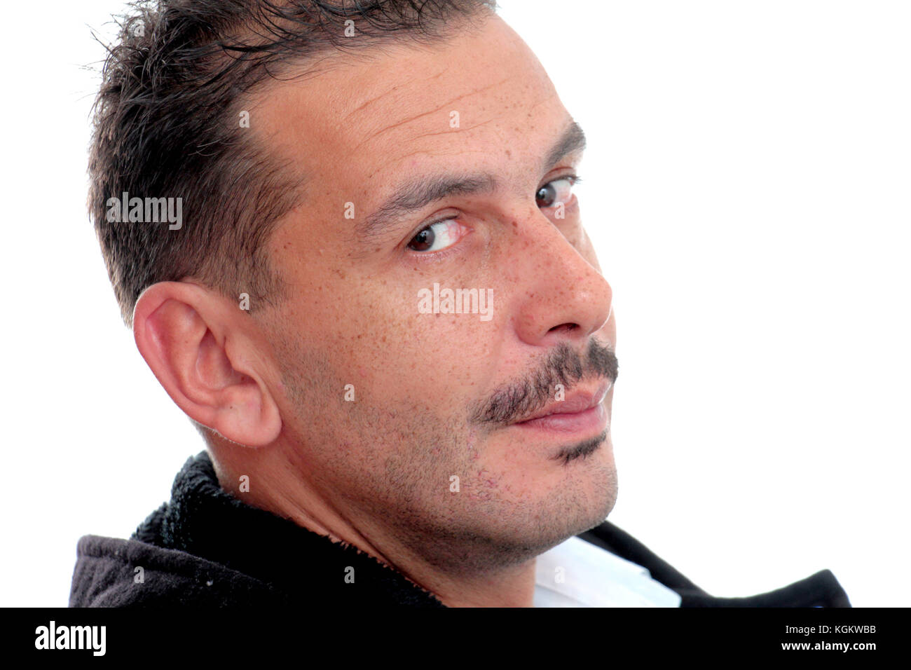 Portrait of an adult man with mustaches on white background.movember concept - Stock Image