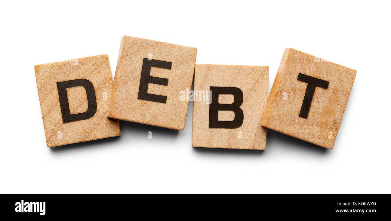 Debt Spelled with Wood Tiles Isolated on a White Background. - Stock Image