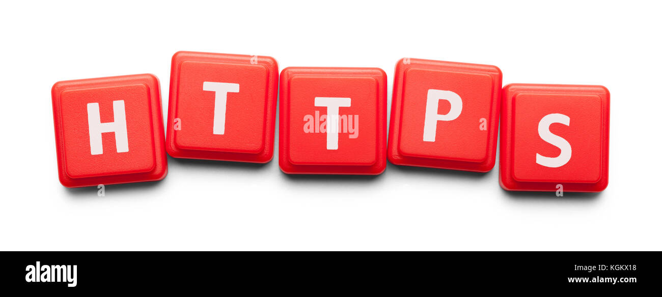 Https Spelled with Wood Tiles Isolated on a White Background. - Stock Image