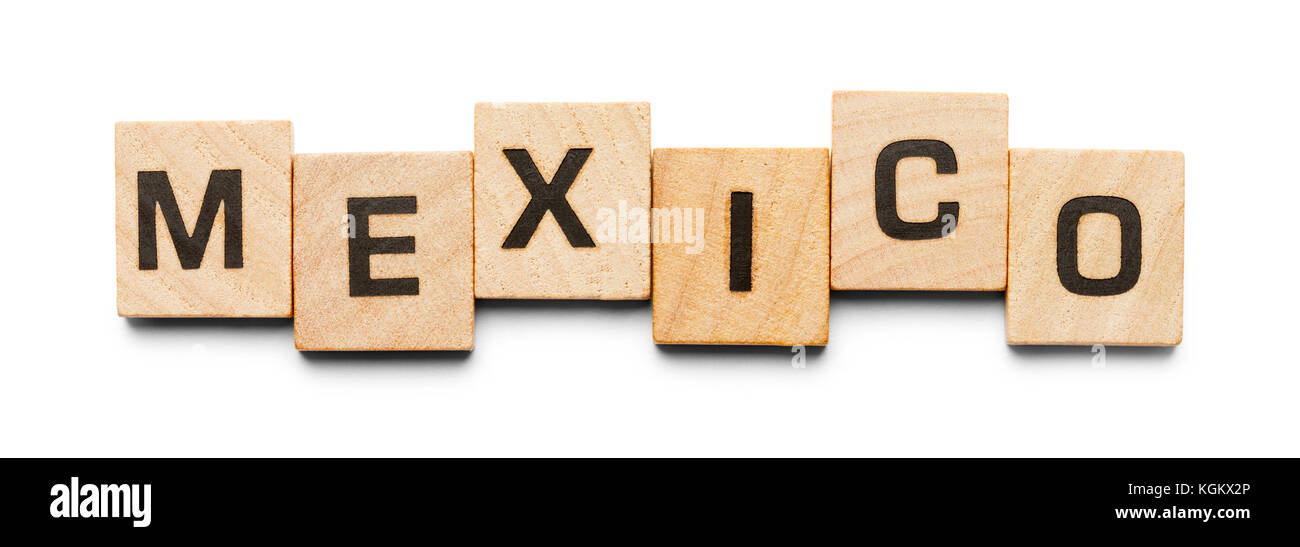 Mexico Spelled with Wood Tiles Isolated on a White Background. Stock Photo