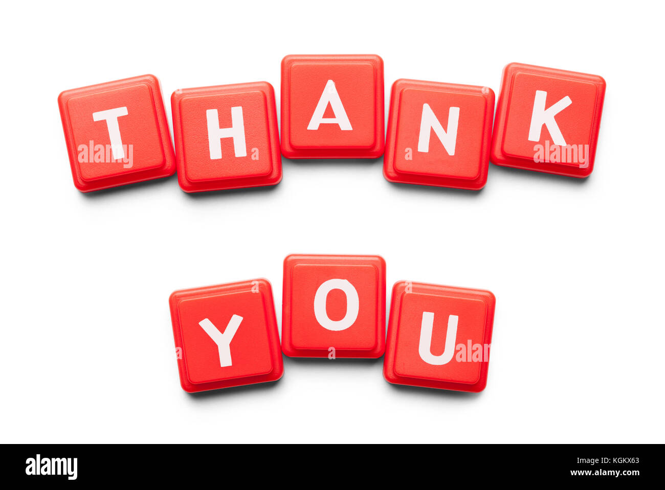 Thank You Spelled with Wood Tiles Isolated on a White Background. - Stock Image