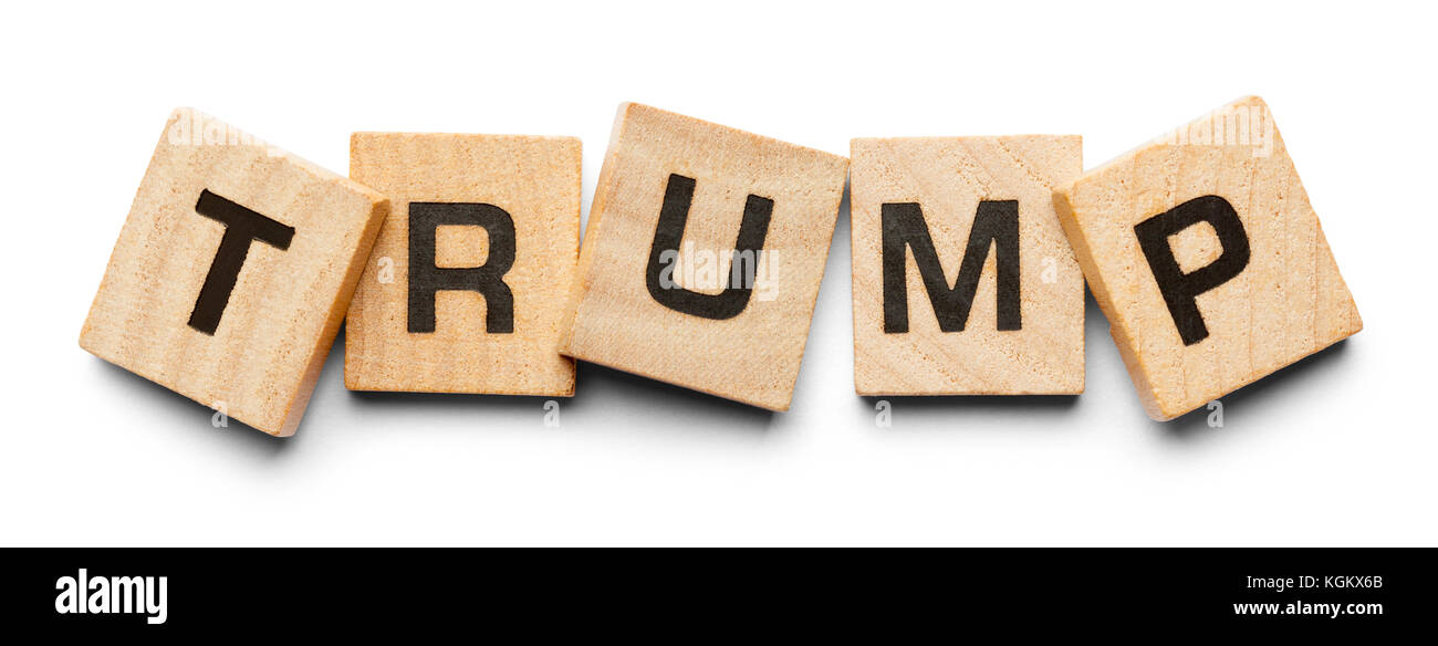 Trump Spelled with Wood Tiles Isolated on a White Background. - Stock Image