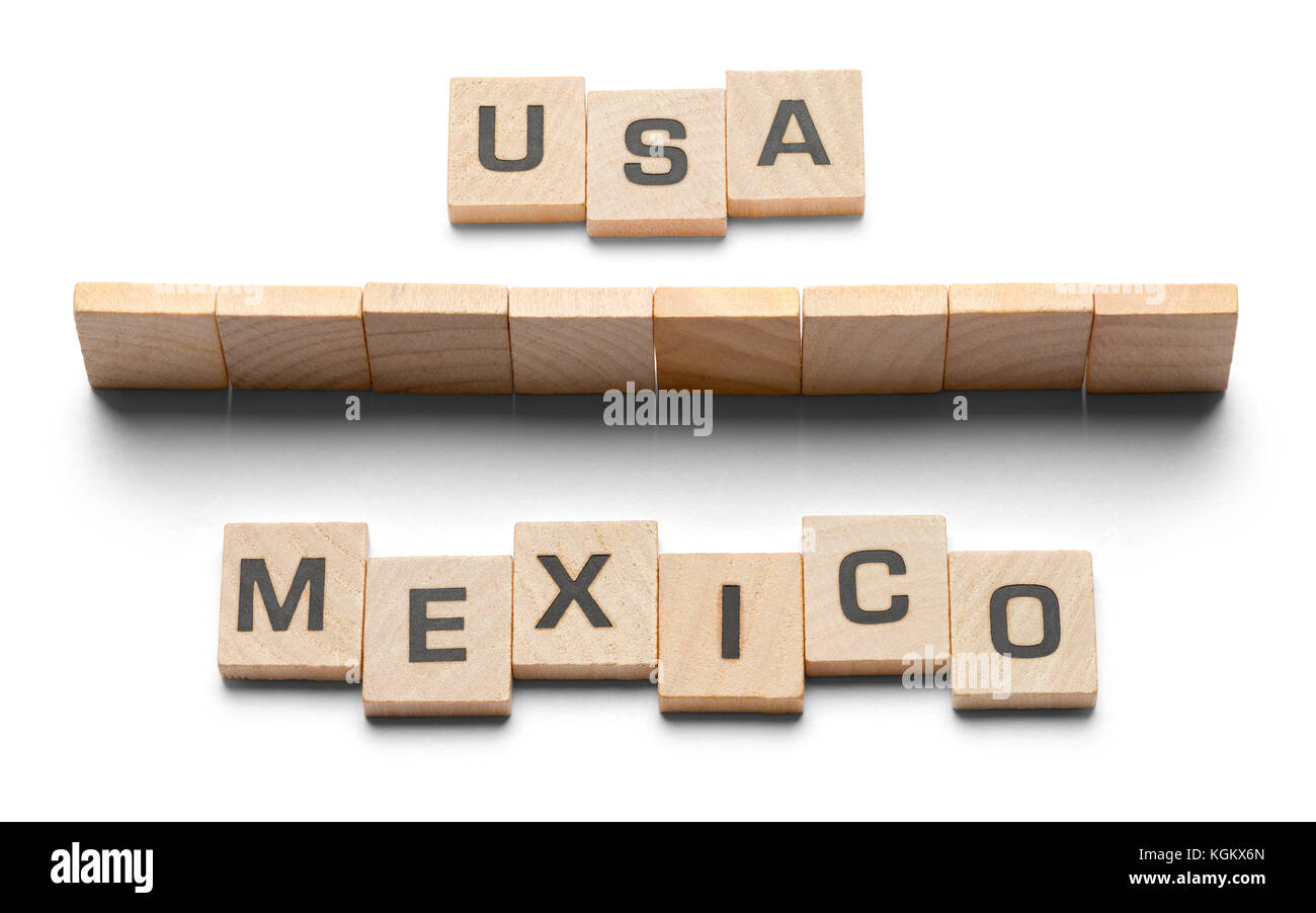 USA and Mexico Boarder Wall Made From Game Tiles. - Stock Image