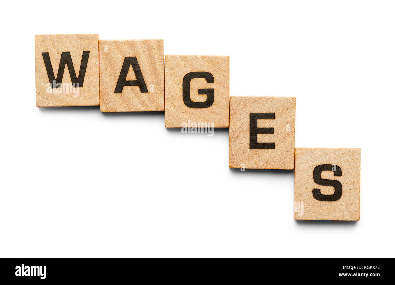 Wages Spelled with Wood Tiles Isolated on a White Background. - Stock Image