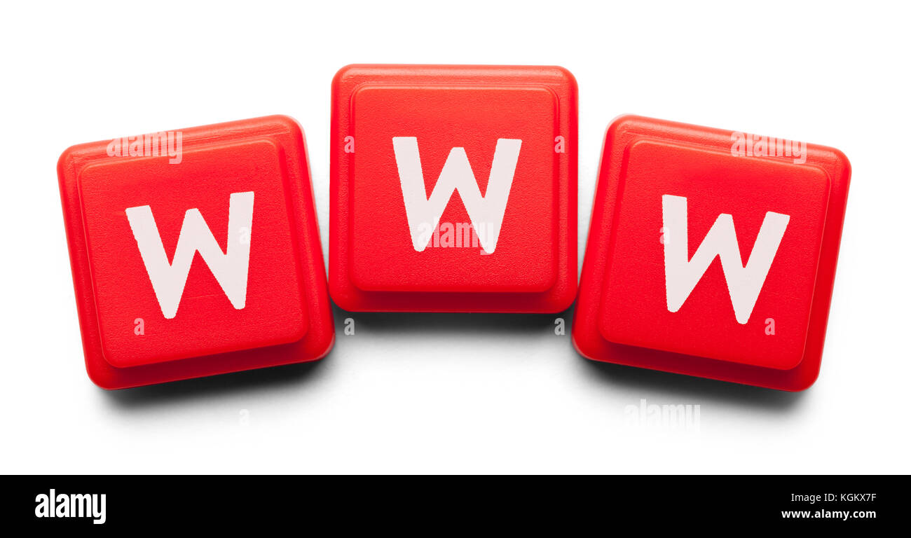 WWW Spelled with Wood Tiles Isolated on a White Background. - Stock Image