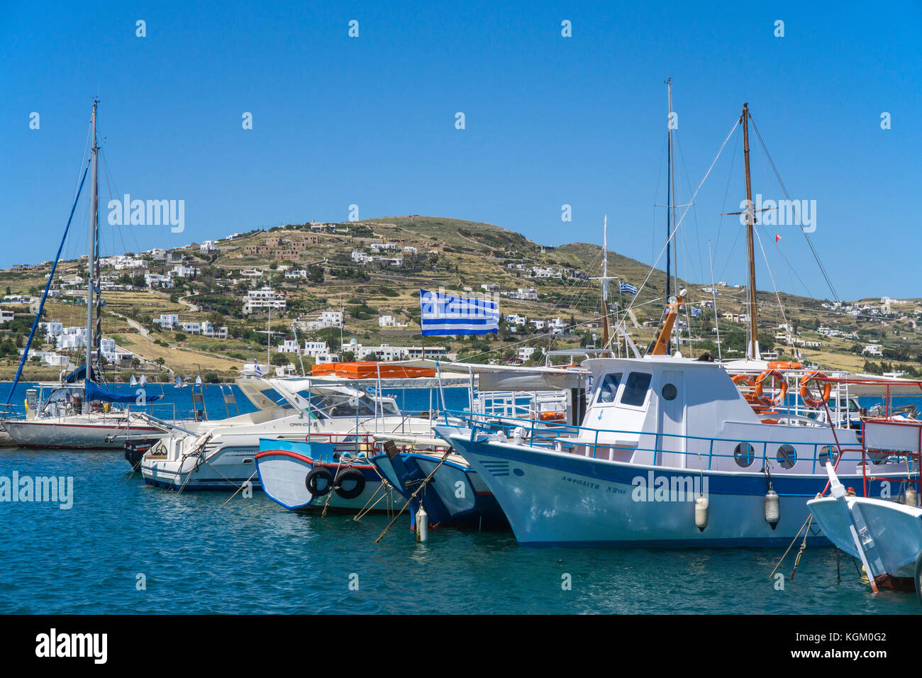 Fishing boats at the harbour of Parikia, Paros island, Cyclades, Aegean, Greece - Stock Image