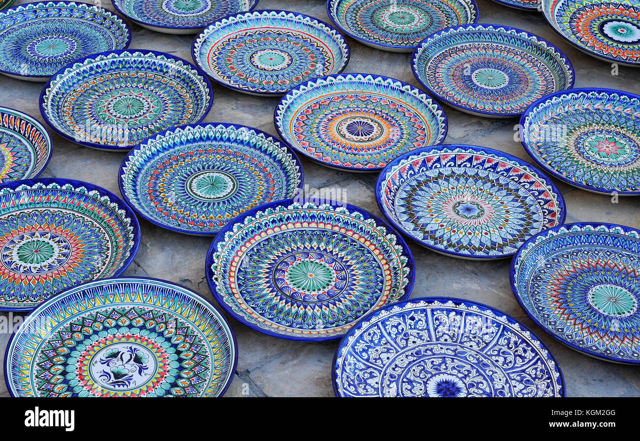 Bukhara blue hand made painted ceramic plates & Bukhara: blue hand made painted ceramic plates Stock Photo ...