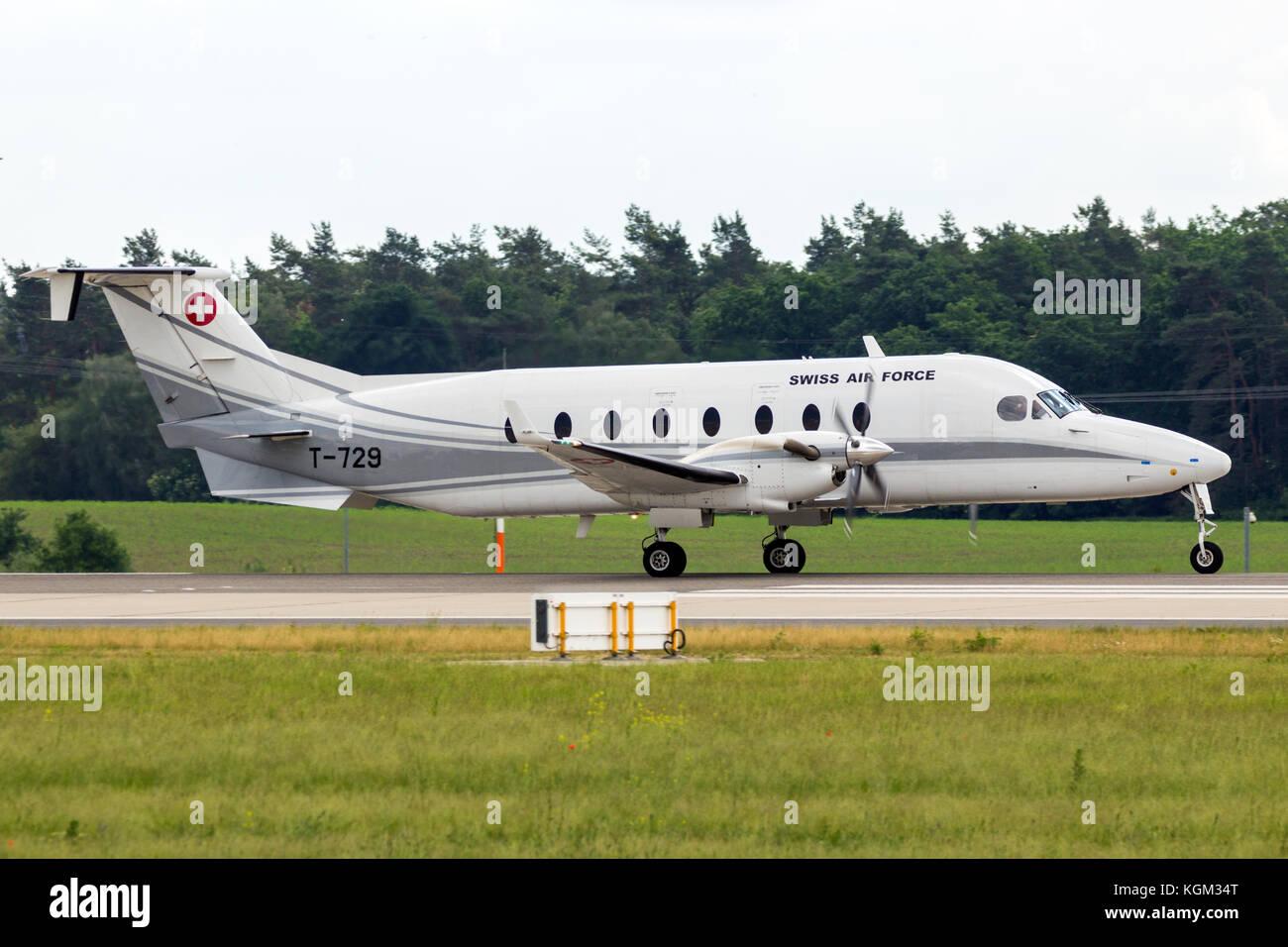 BERLIN - JUN 2, 2016: Swiss Air Force Beech 1900D plane landing at Berlin-Schoneveld airport - Stock Image