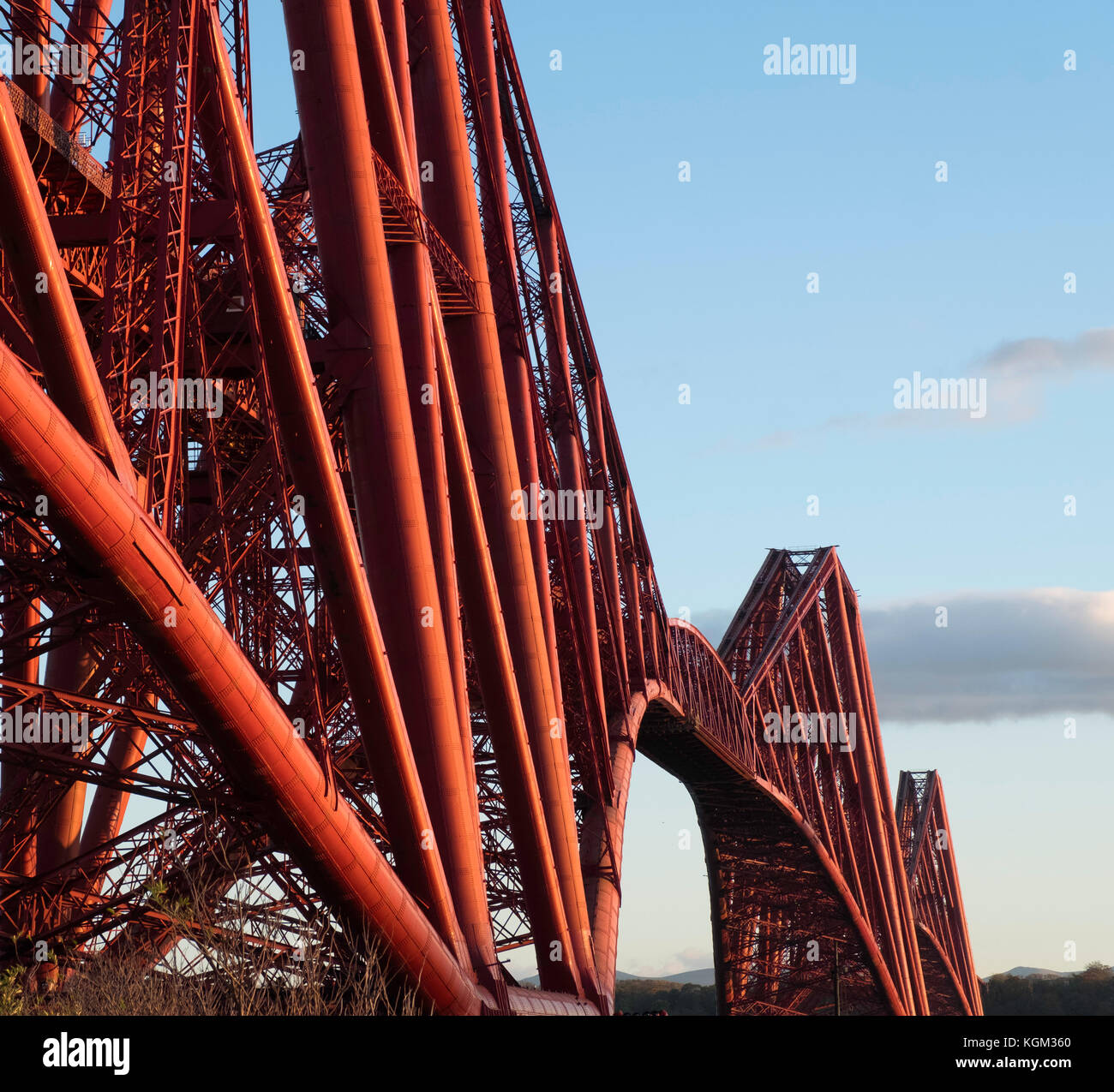 View of famous Forth Rail Bridge spanning the Firth of Forth between Fife and West Lothian in Scotland, United Kingdom. - Stock Image