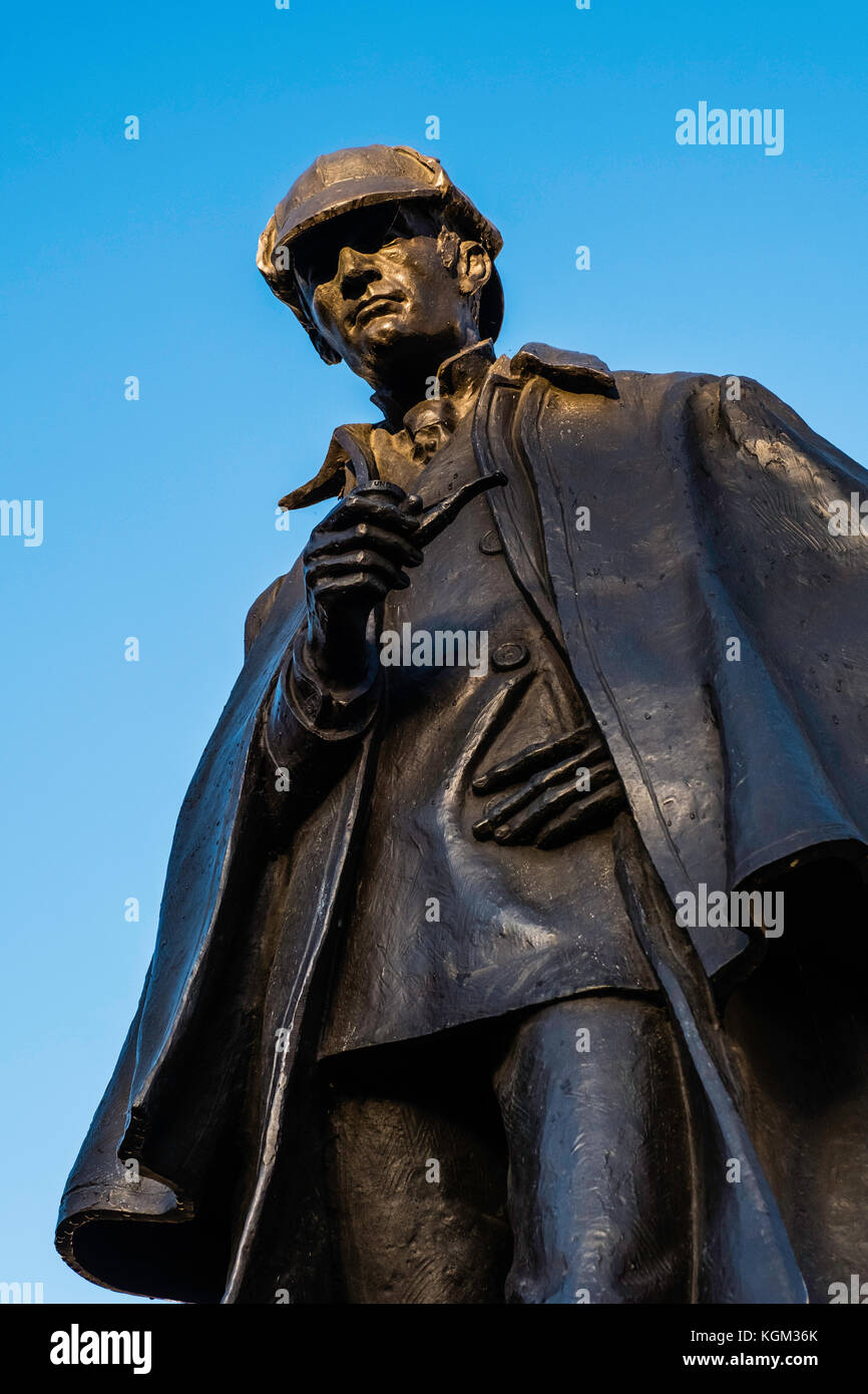 Statue of Sherlock Holmes at Picardy Place in Edinburgh commemorating birthplace of Sir Arthur Conan Doyle in Edinburgh, - Stock Image