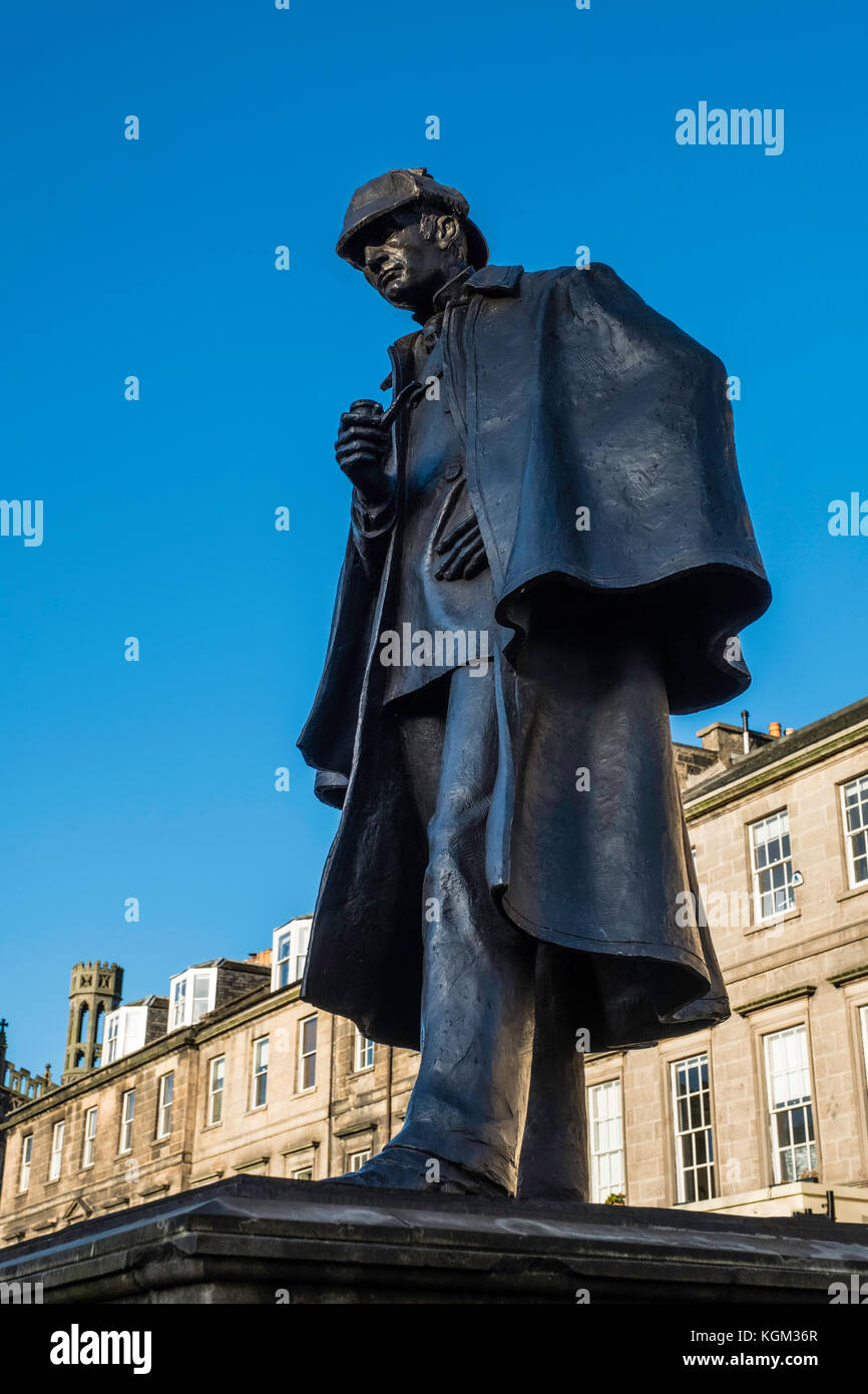 Statue of Sherlock Holmes at Picardy Place in Edinburgh commemorating birthplace of Sir Arthur Conan Doyle in Edinburgh, Stock Photo