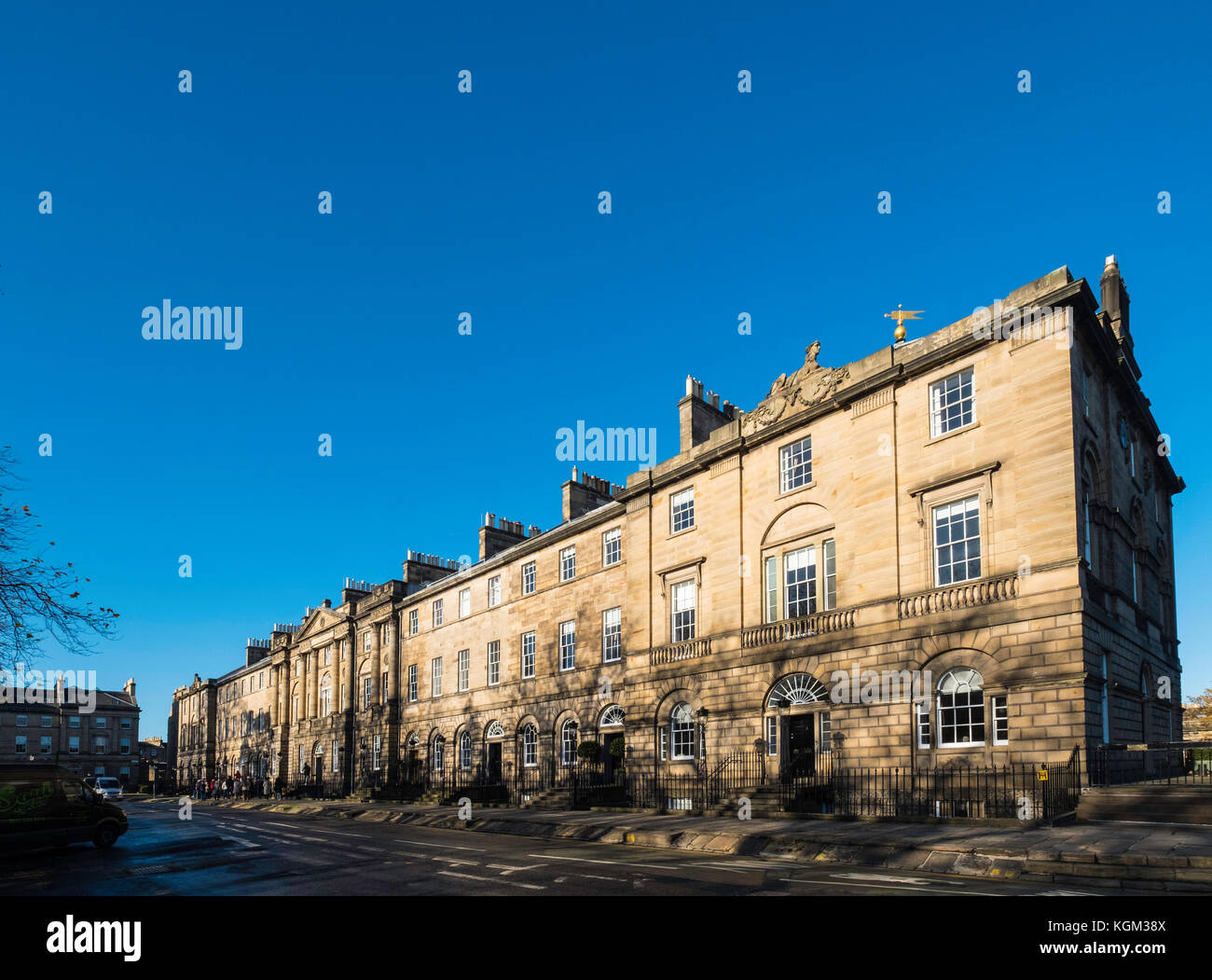 View of terraced houses in Charlotte Square including Bute House, the official residence of First Minister Nicola - Stock Image