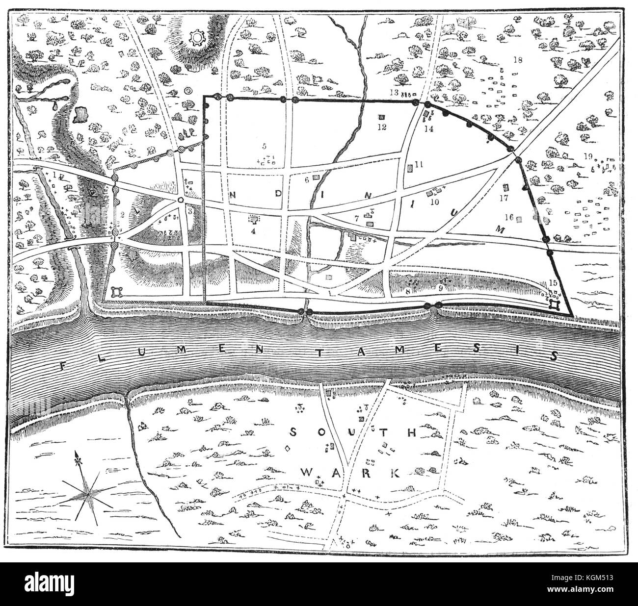 A plan of Londinium, or London, around AD 70, around which the Roman Walls can be seen. The small hill (marked No - Stock Image