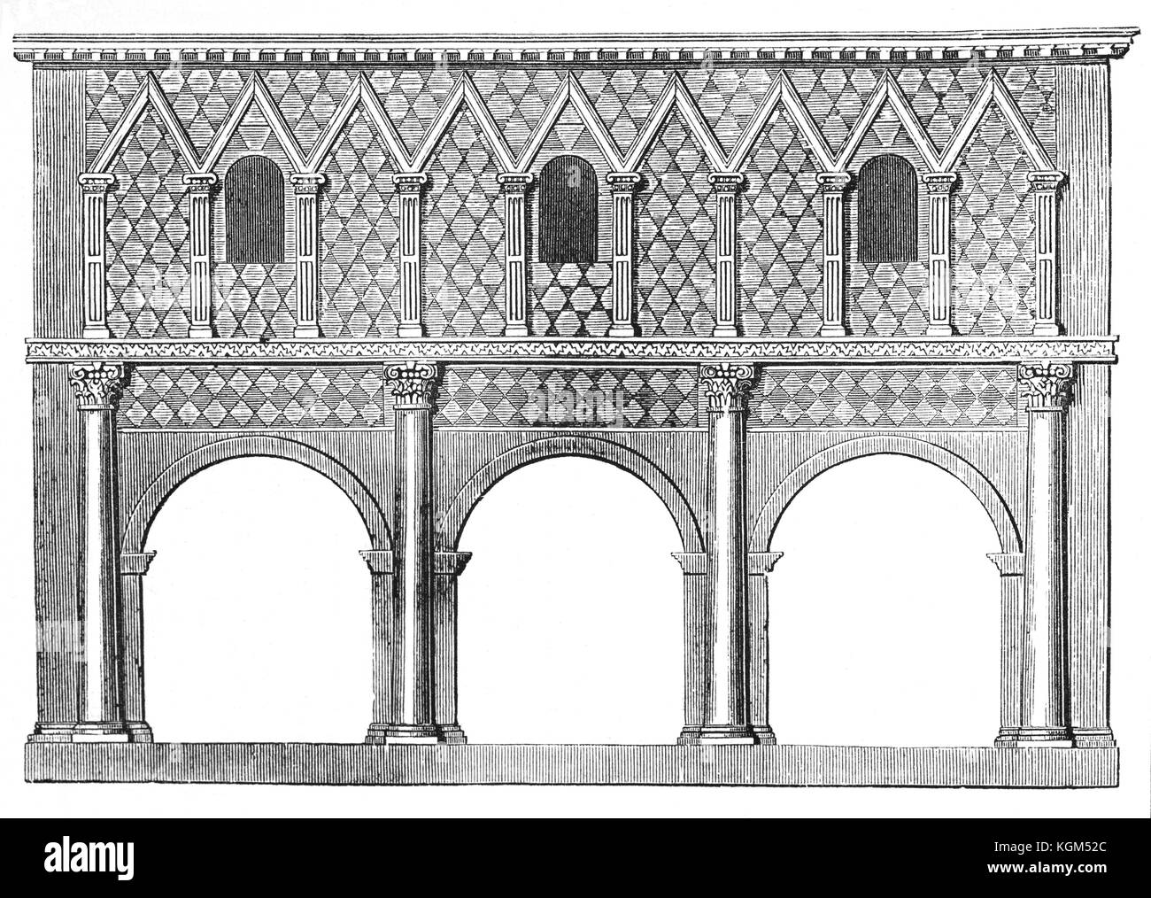An architectural drawing of the portico of the  Imperial Abbey of Lorsch (founded in 764) in the District of Bergstrasse, - Stock Image