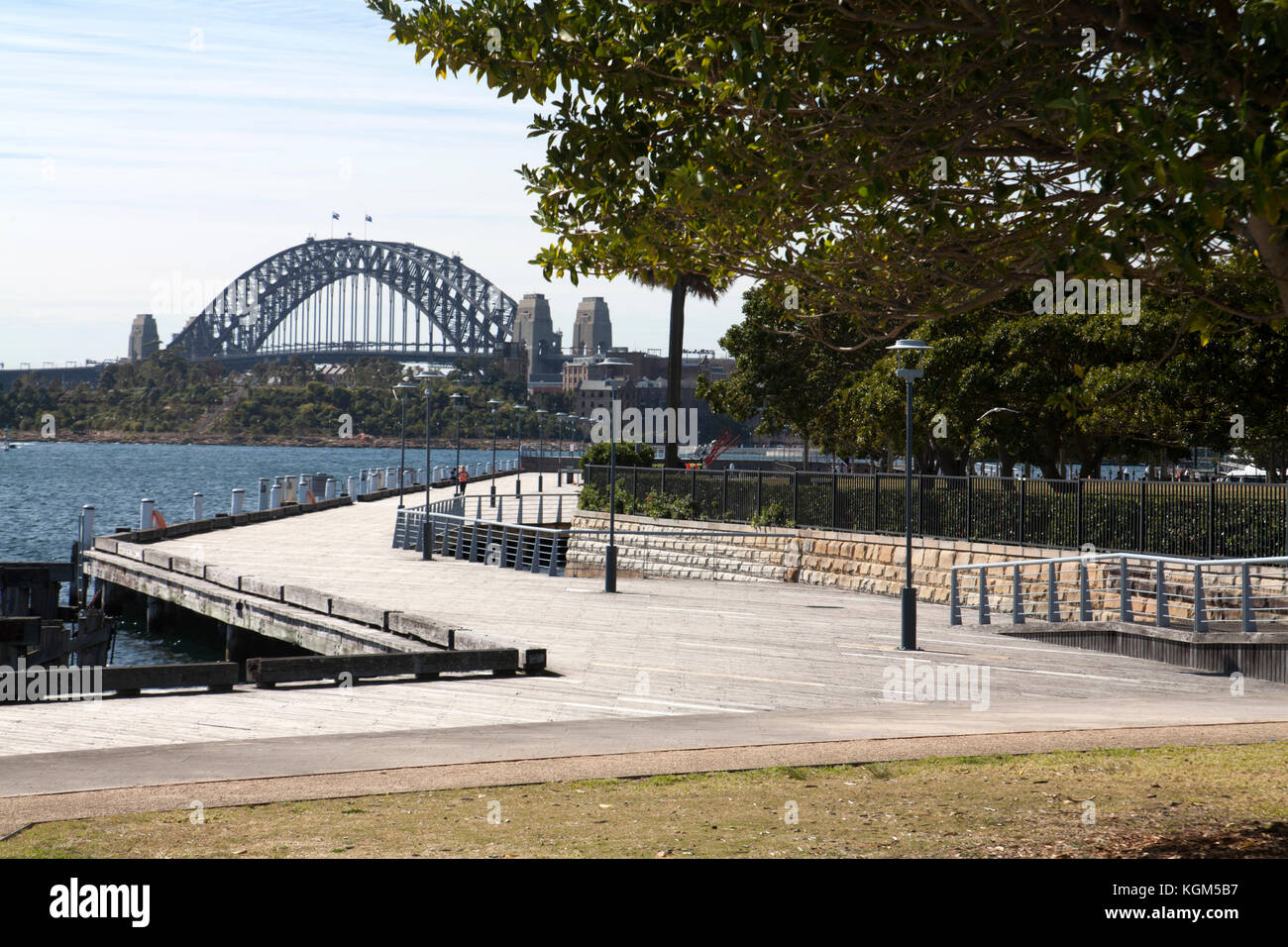 sydney harbour bridge from pyrmont park darling island pyrmont sydney new south wales australia - Stock Image