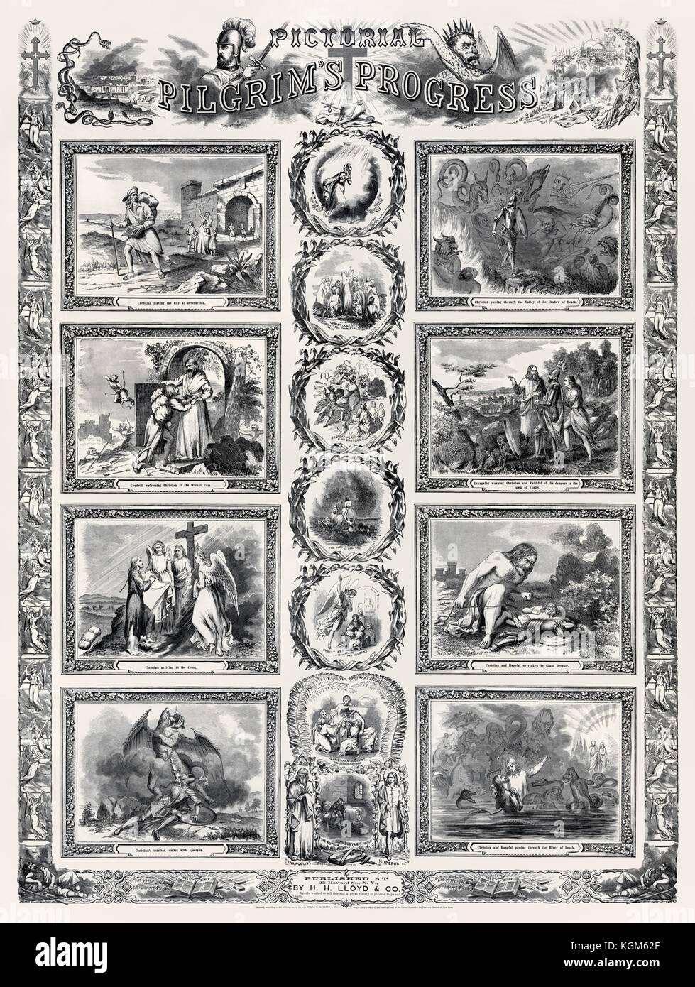 'Pictorial Pilgrim's Progress' showing various events during Christian's journey from the City of Destruction - Stock Image