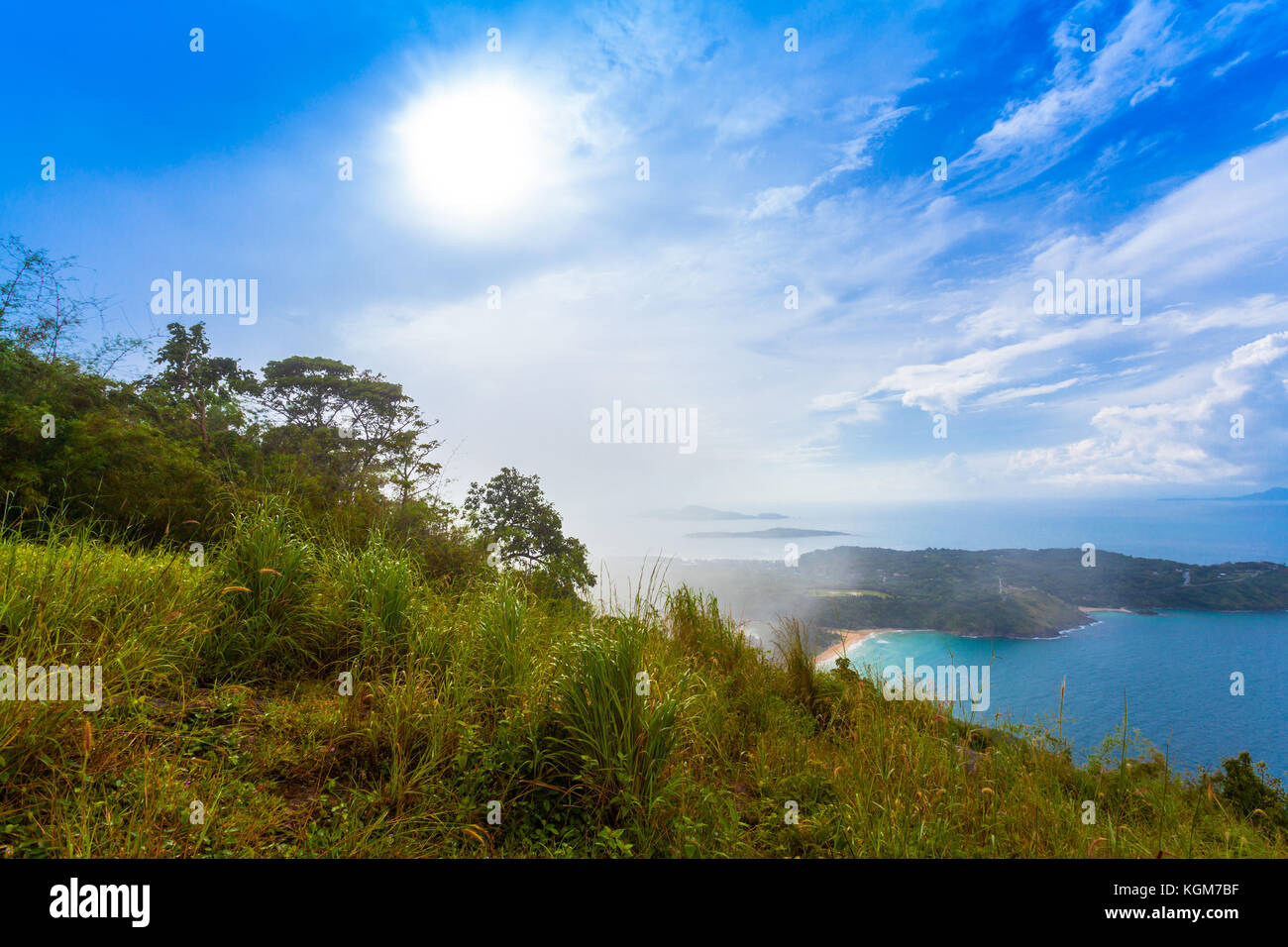 Pha Hin Dum viewpoint locate is on the highest mountain can see wind turbine,Phomthep cape Rawai beach and Chalong Stock Photo