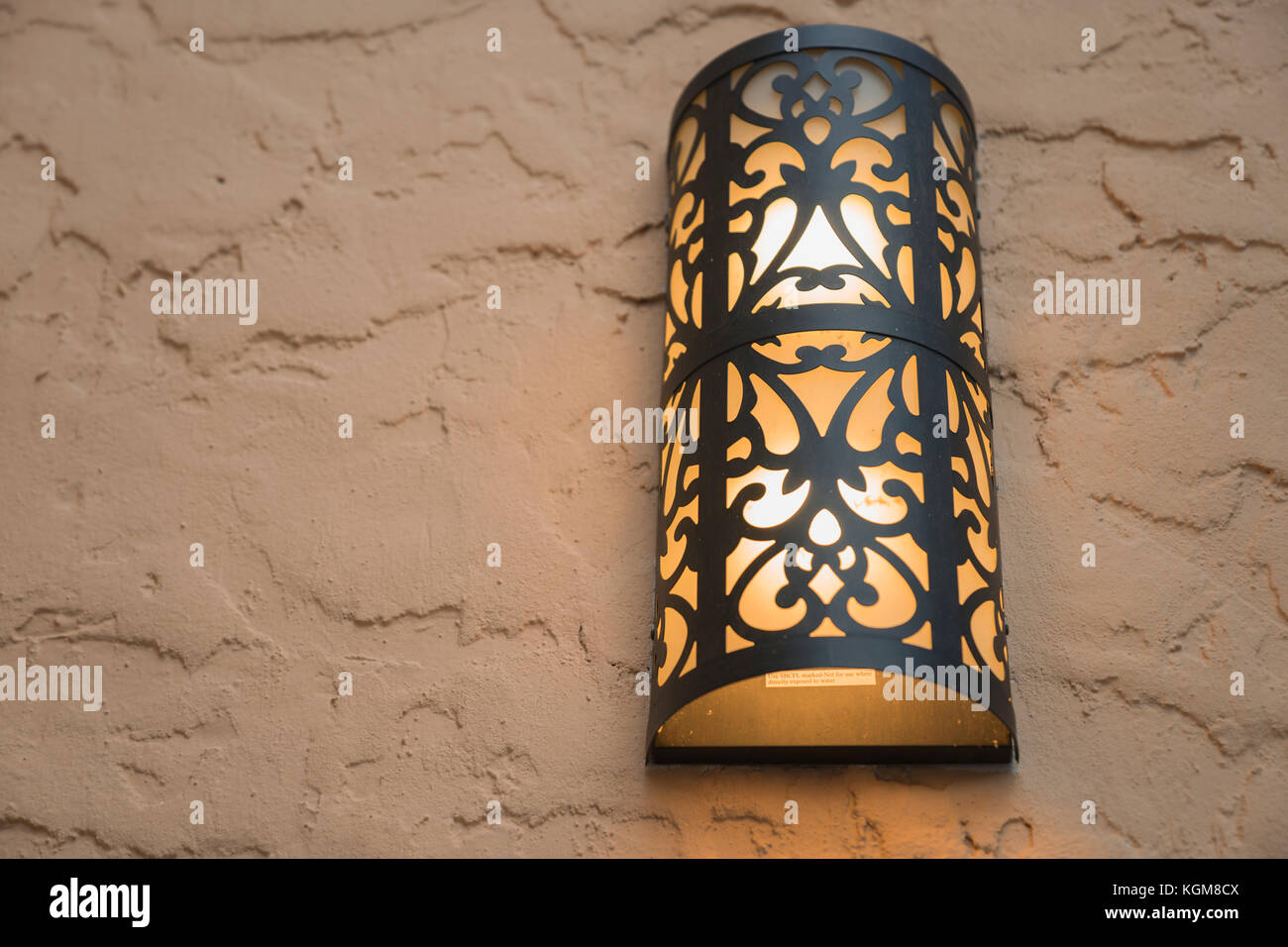 Yellow And Black Vintage Metal Lamp Outside Stock Photo
